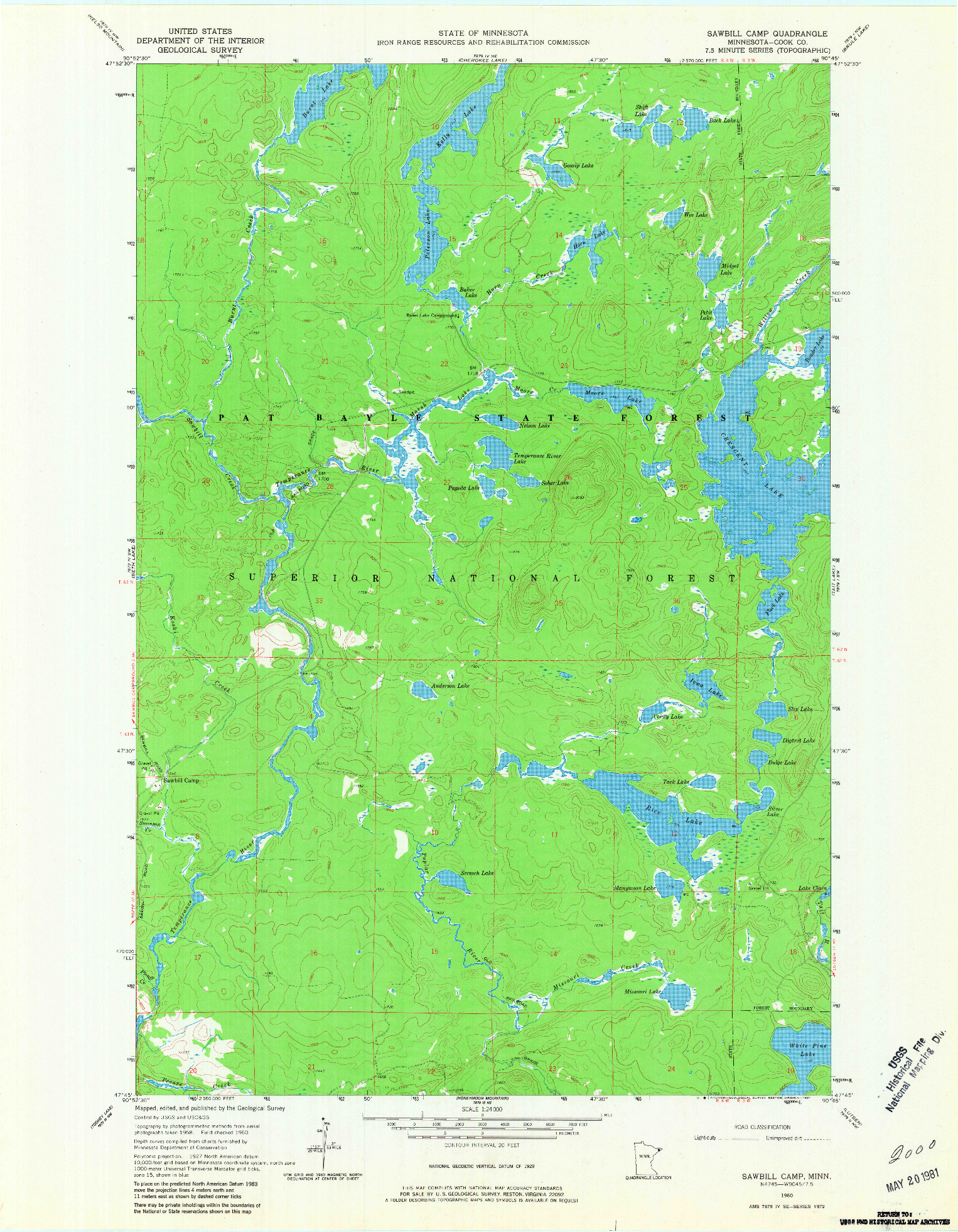 USGS 1:24000-SCALE QUADRANGLE FOR SAWBILL CAMP, MN 1960