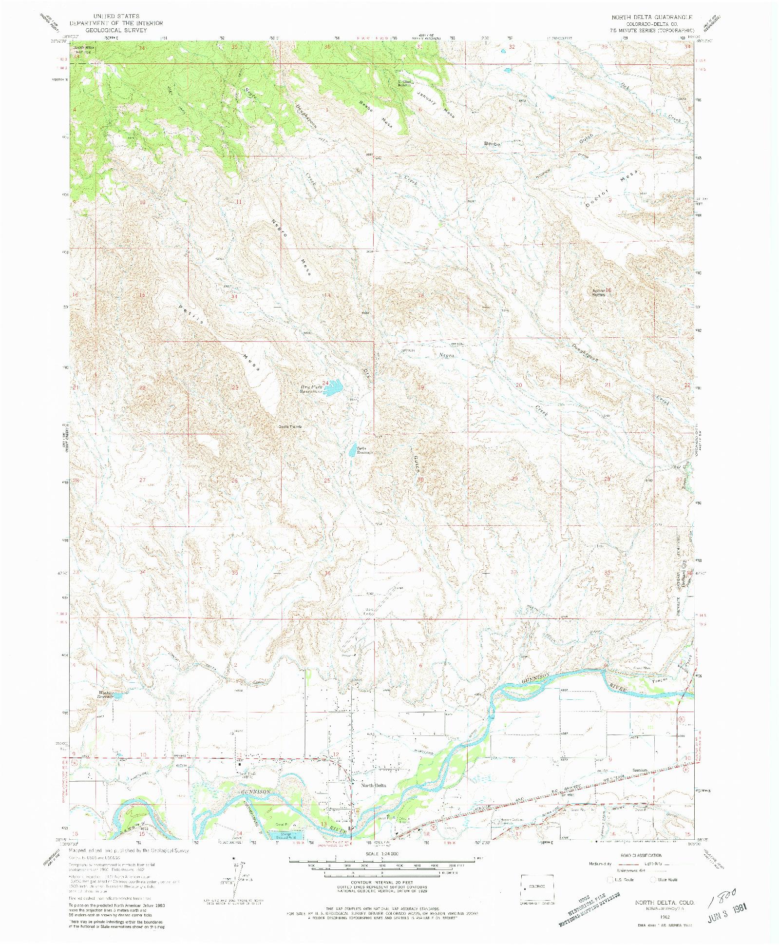USGS 1:24000-SCALE QUADRANGLE FOR NORTH DELTA, CO 1962