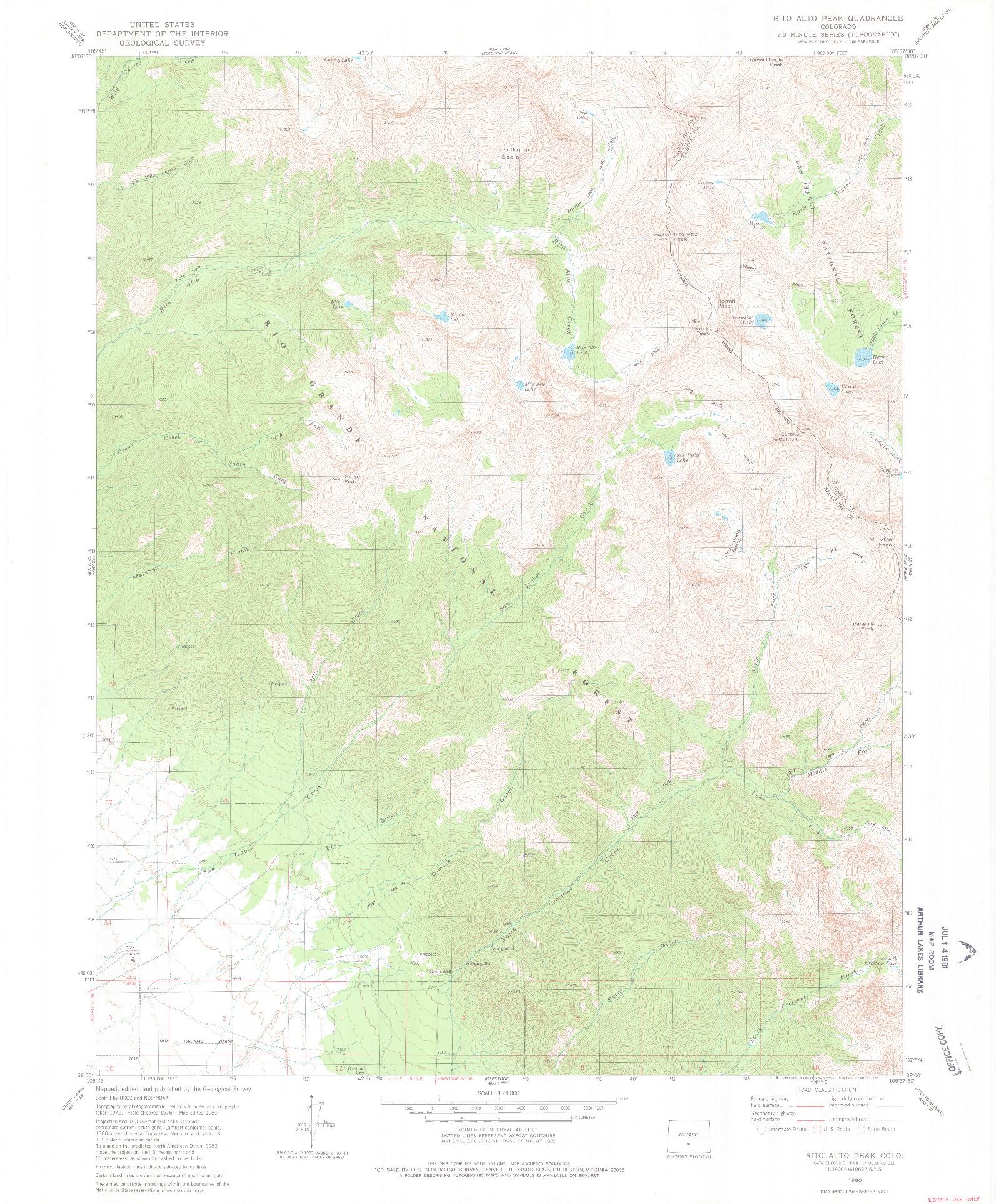 USGS 1:24000-SCALE QUADRANGLE FOR RITO ALTO PEAK, CO 1980