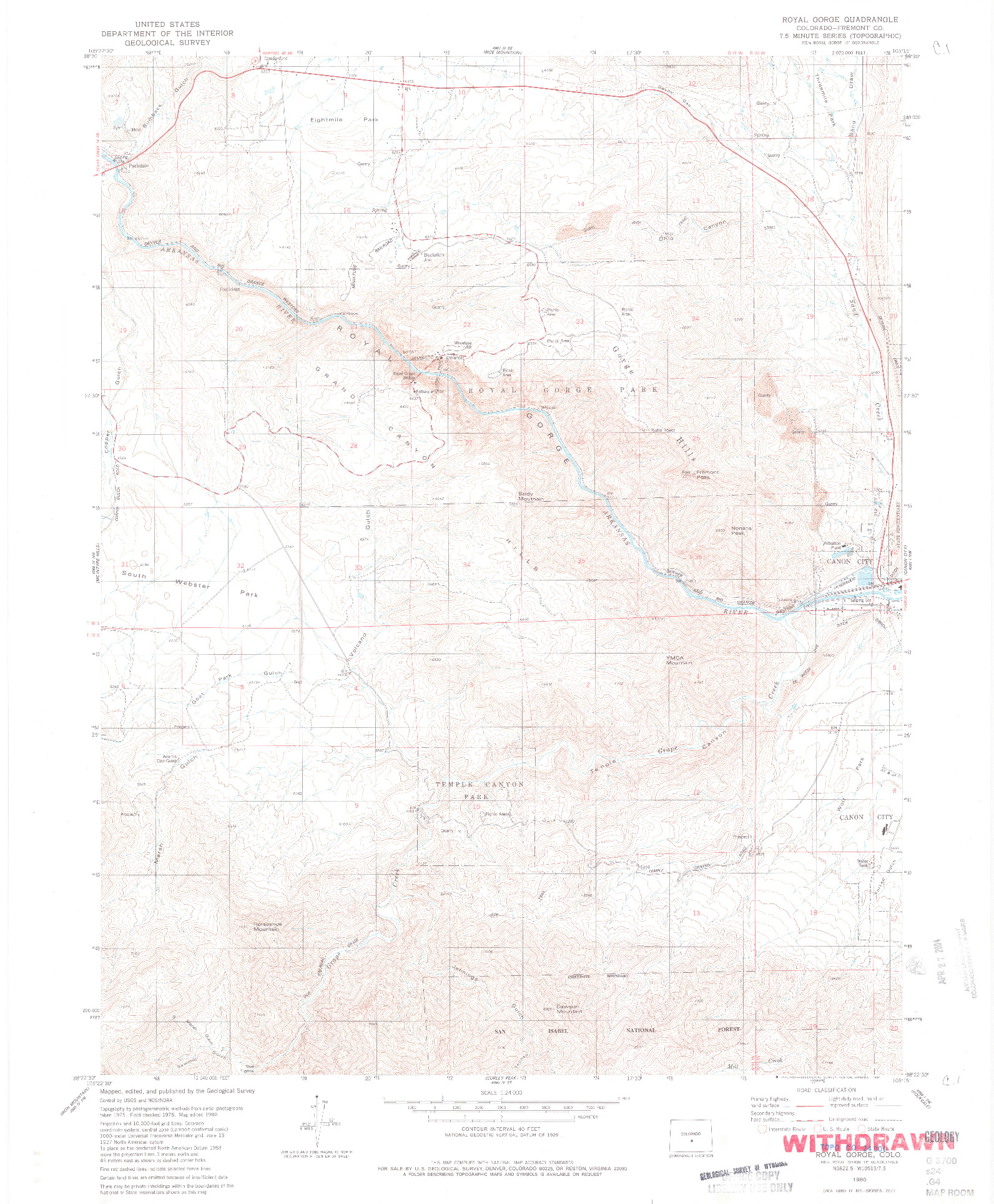 USGS 1:24000-SCALE QUADRANGLE FOR ROYAL GORGE, CO 1980