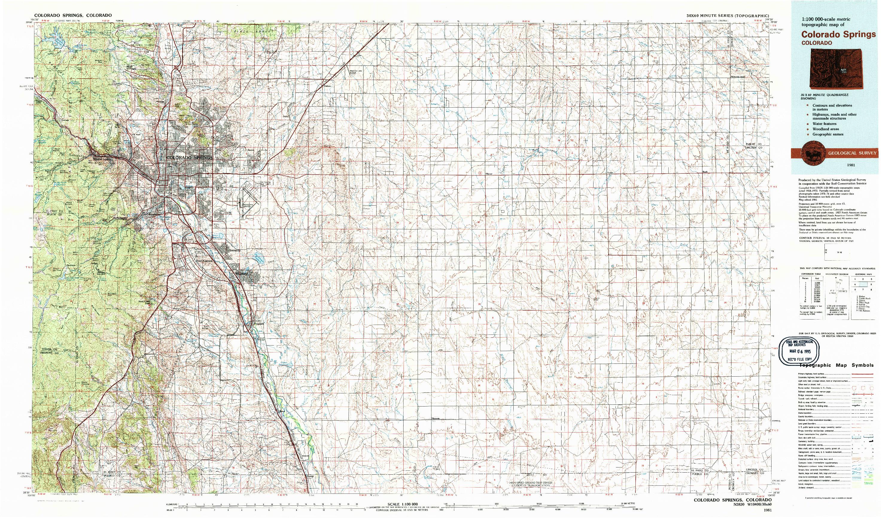 USGS 1:100000-SCALE QUADRANGLE FOR COLORADO SPRINGS, CO 1981