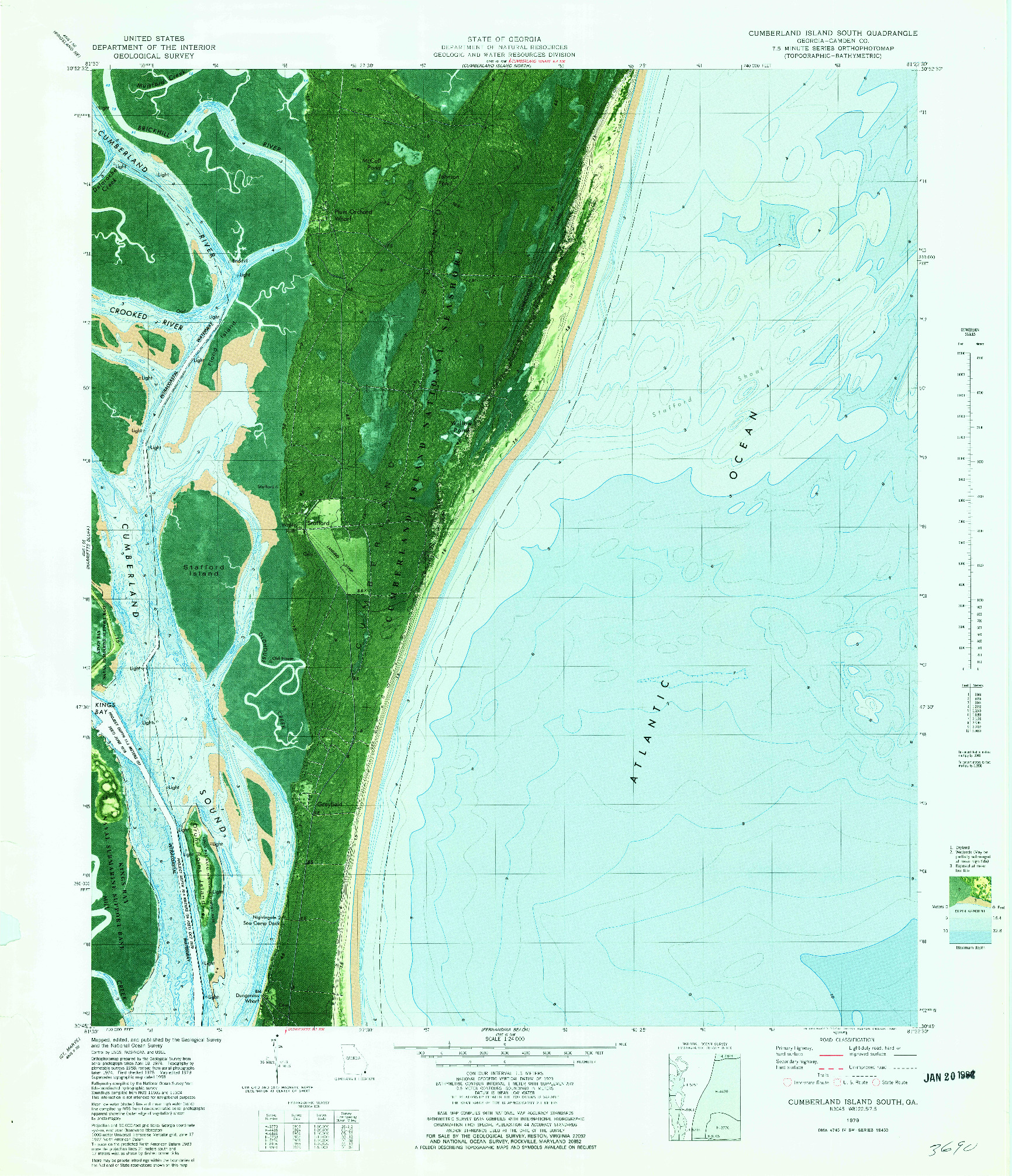 USGS 1:24000-SCALE QUADRANGLE FOR CUMBERLAND ISLAND SOUTH, GA 1979