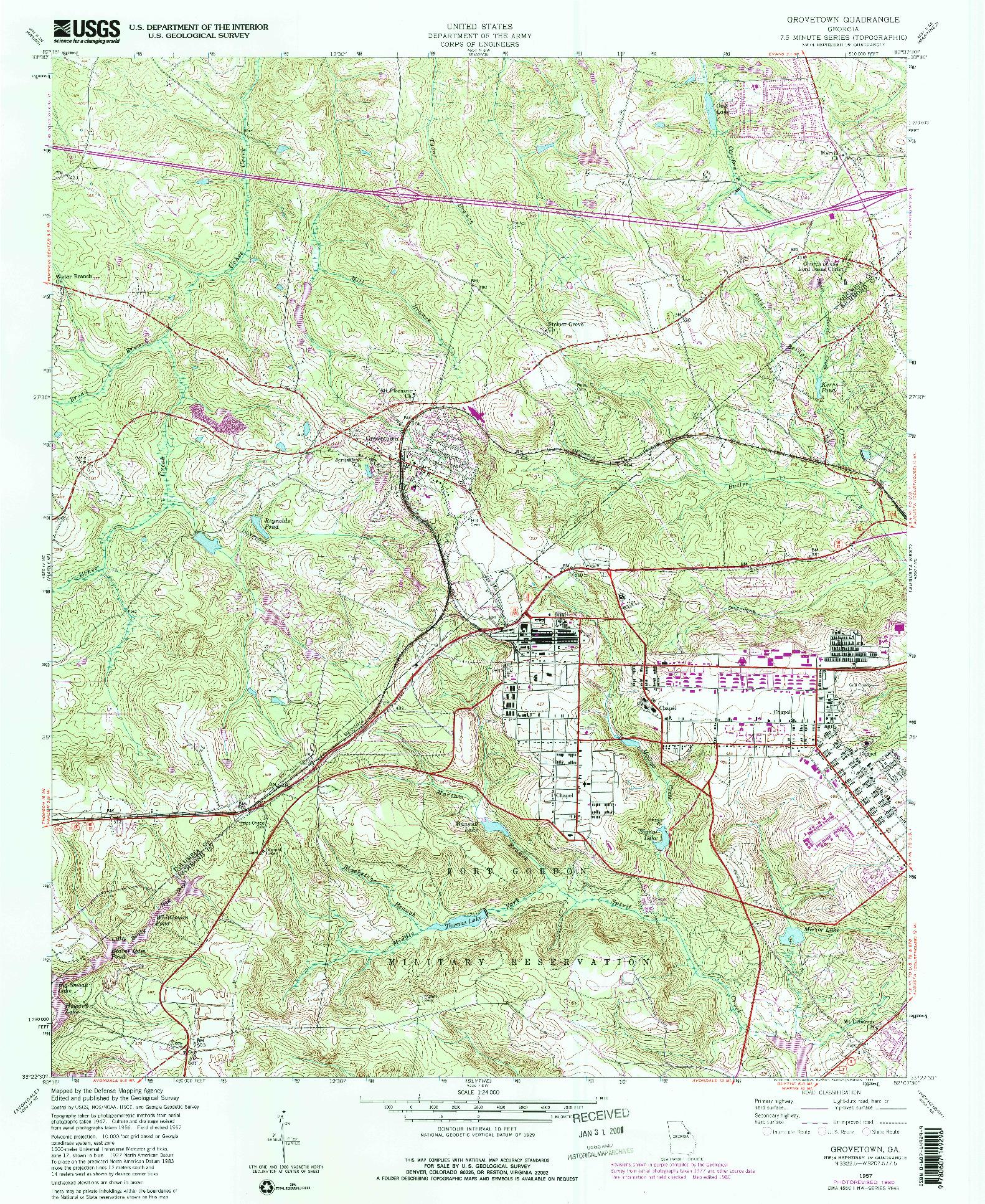 USGS 1:24000-SCALE QUADRANGLE FOR GROVETOWN, GA 1957