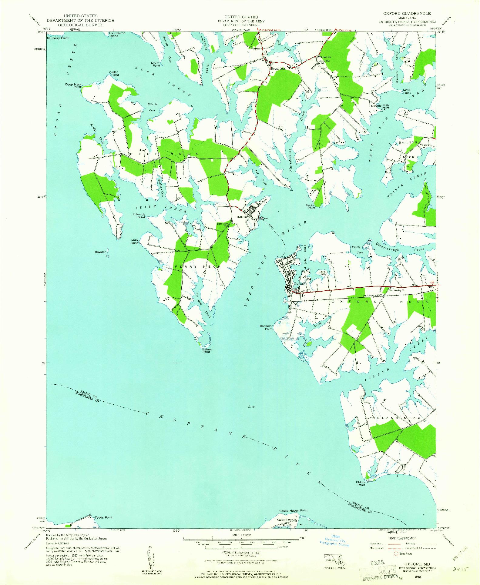 USGS 1:24000-SCALE QUADRANGLE FOR OXFORD, MD 1942
