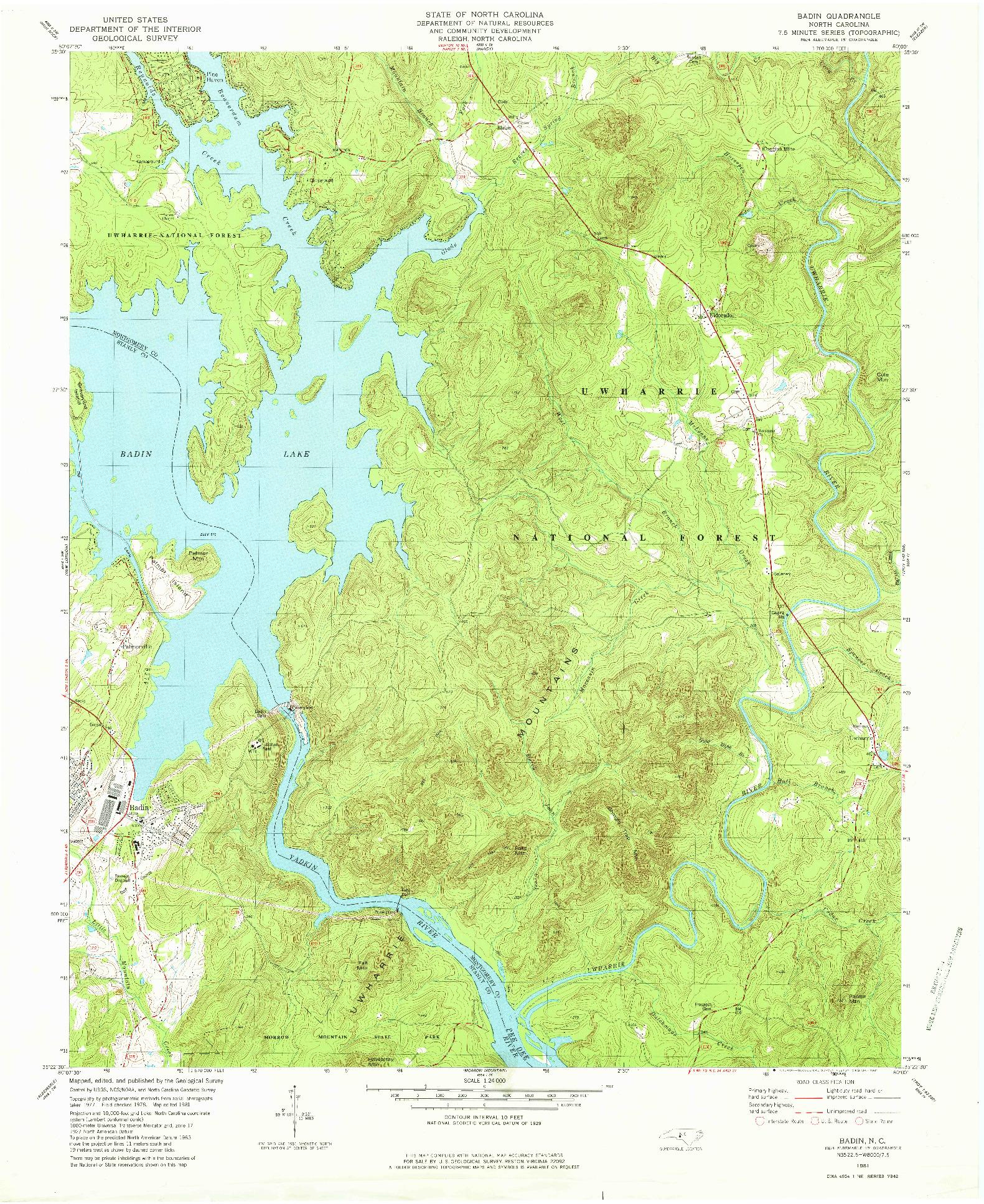 USGS 1:24000-SCALE QUADRANGLE FOR BADIN, NC 1981