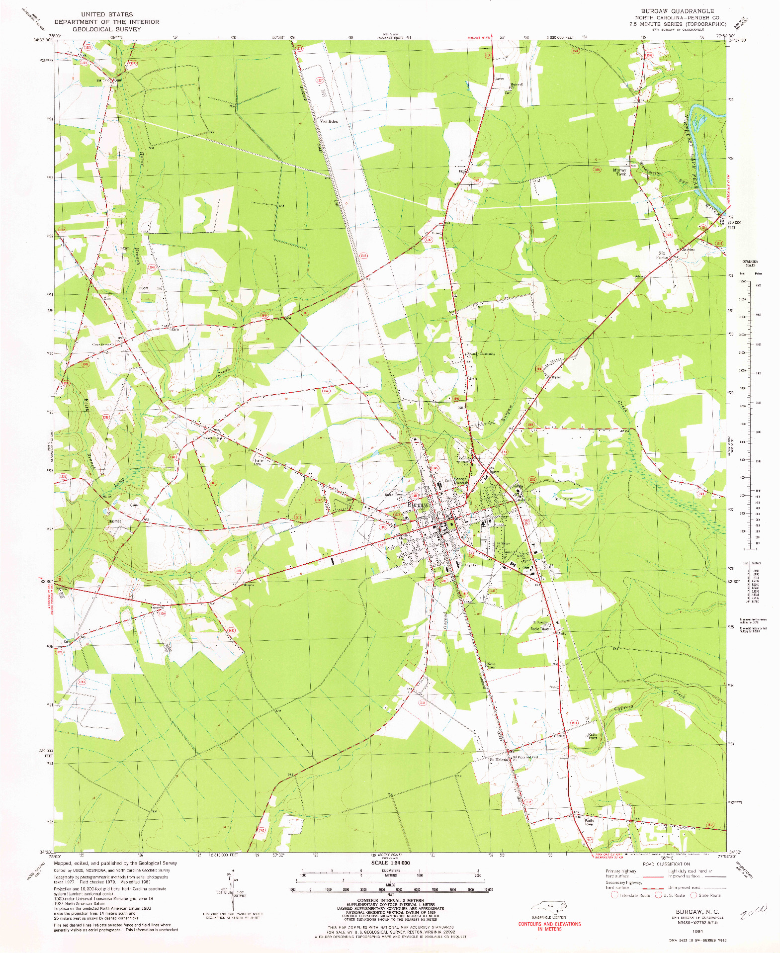 USGS 1:24000-SCALE QUADRANGLE FOR BURGAW, NC 1981