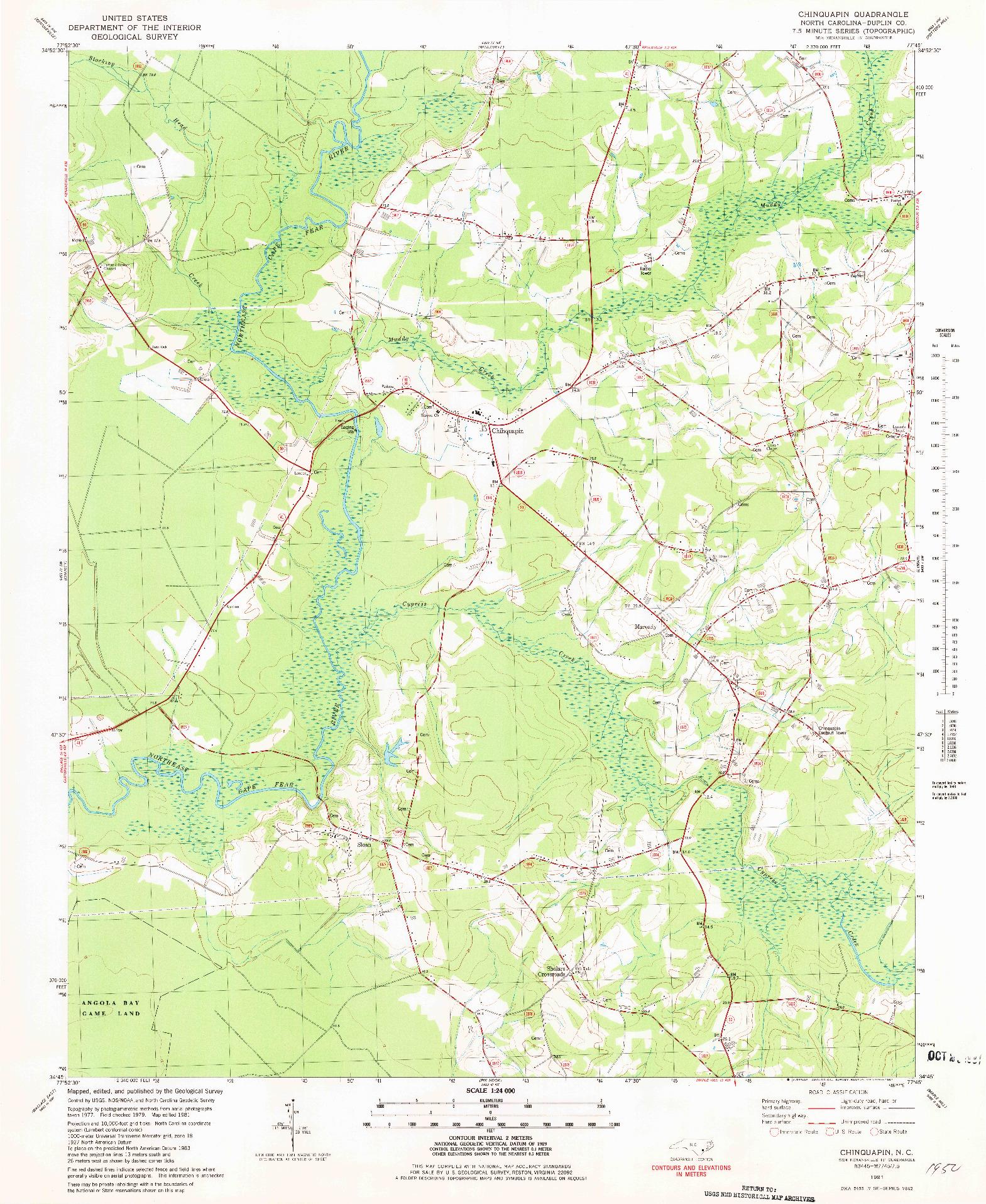 USGS 1:24000-SCALE QUADRANGLE FOR CHINQUAPIN, NC 1981