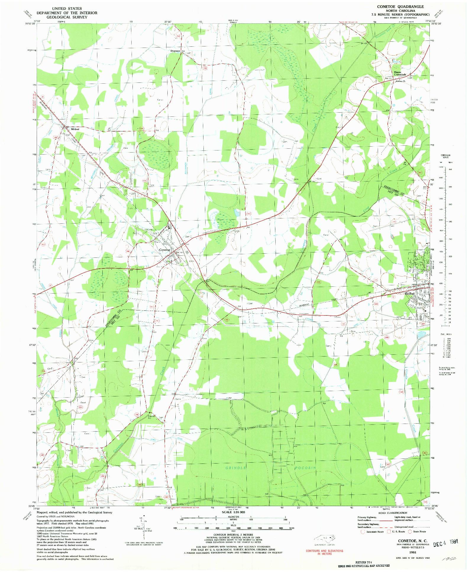 USGS 1:24000-SCALE QUADRANGLE FOR CONETOE, NC 1981