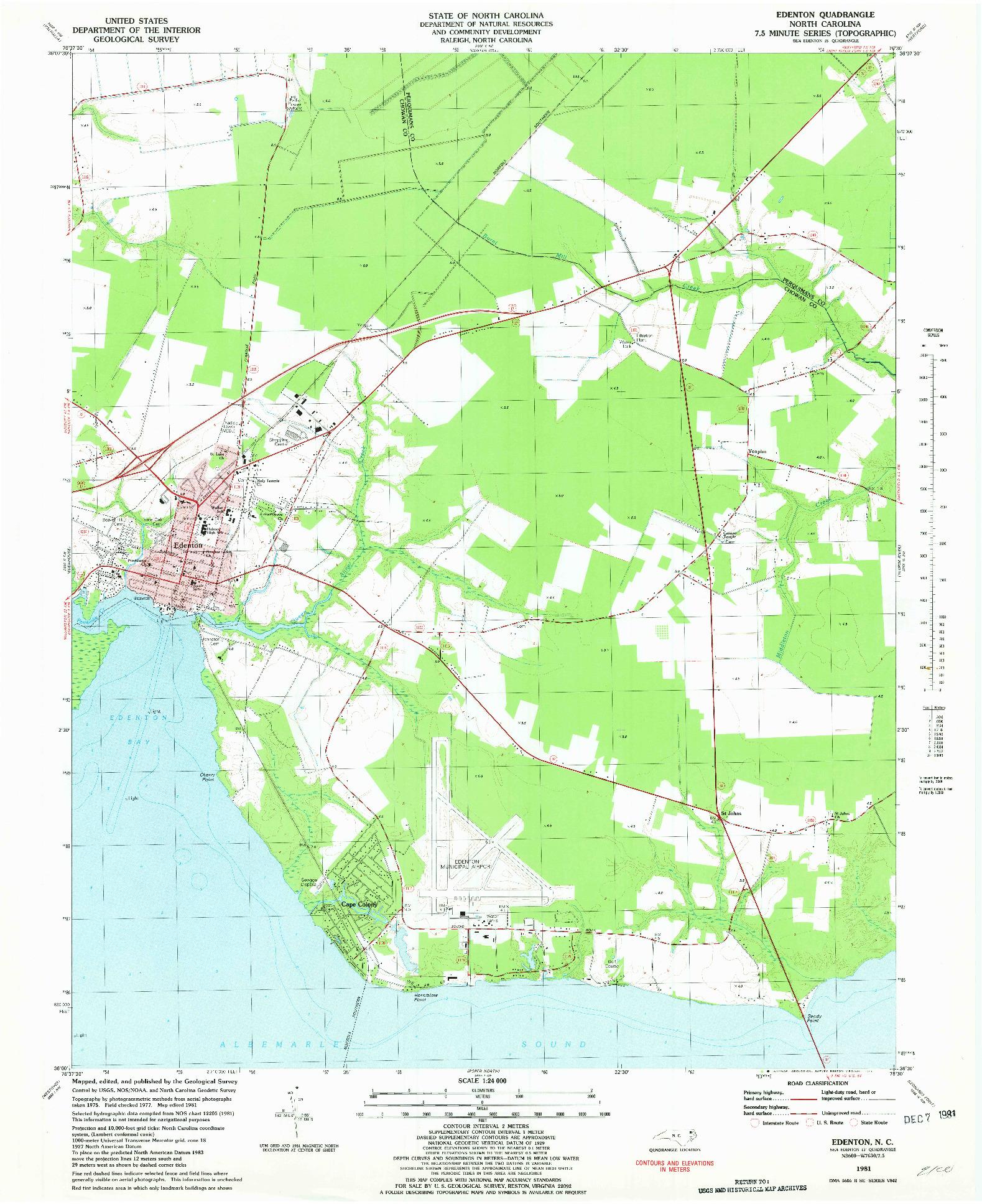 USGS 1:24000-SCALE QUADRANGLE FOR EDENTON, NC 1981