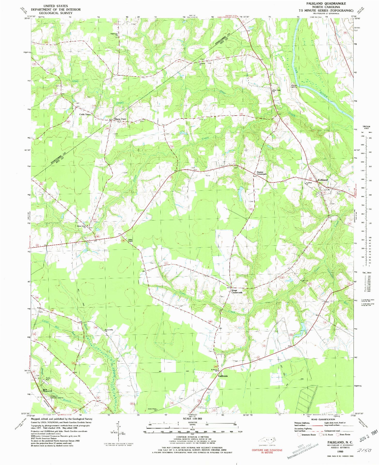 USGS 1:24000-SCALE QUADRANGLE FOR FALKLAND, NC 1980