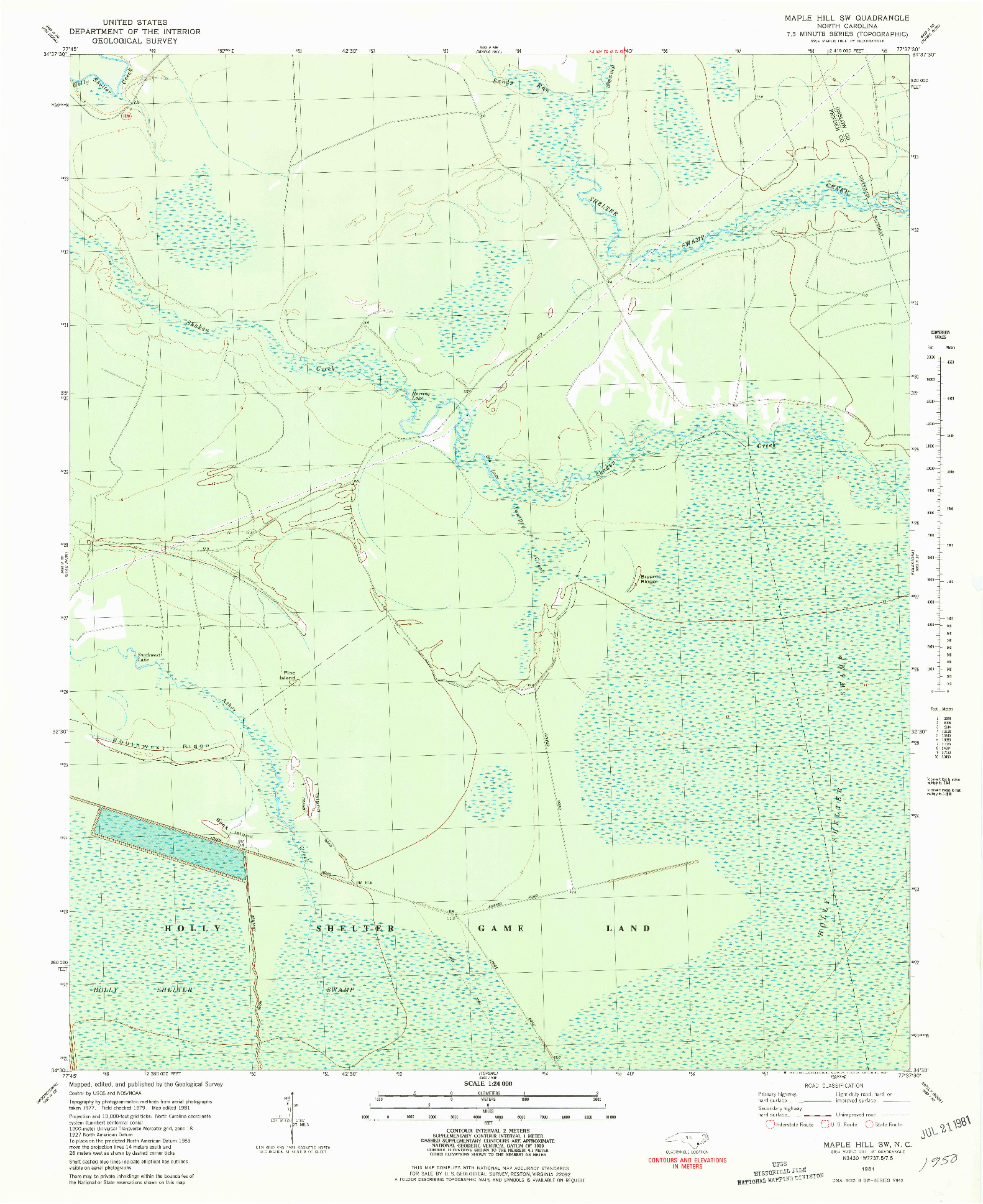 USGS 1:24000-SCALE QUADRANGLE FOR MAPLE HILL SW, NC 1981