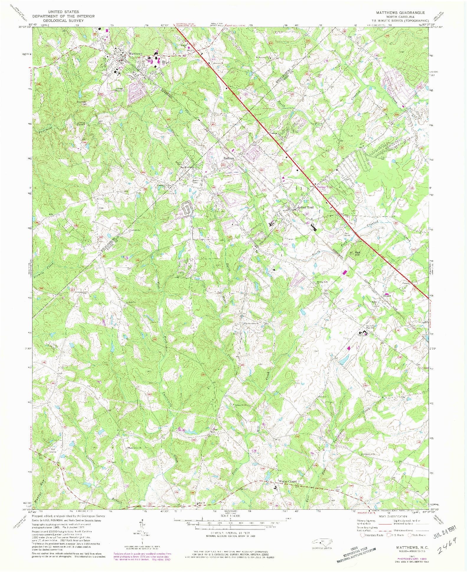 USGS 1:24000-SCALE QUADRANGLE FOR MATTHEWS, NC 1971