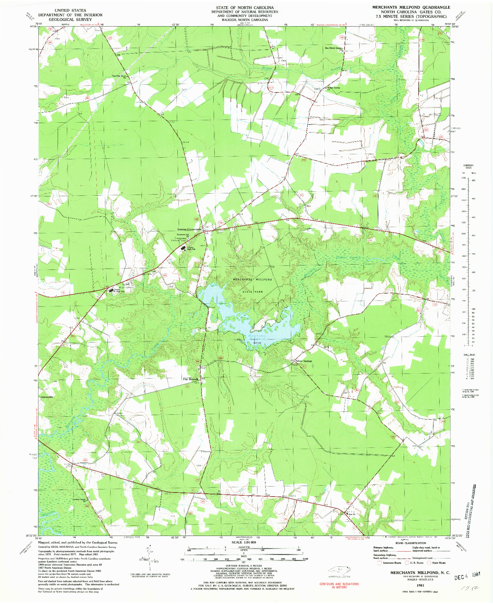 USGS 1:24000-SCALE QUADRANGLE FOR MERCHANTS MILLPOND, NC 1981