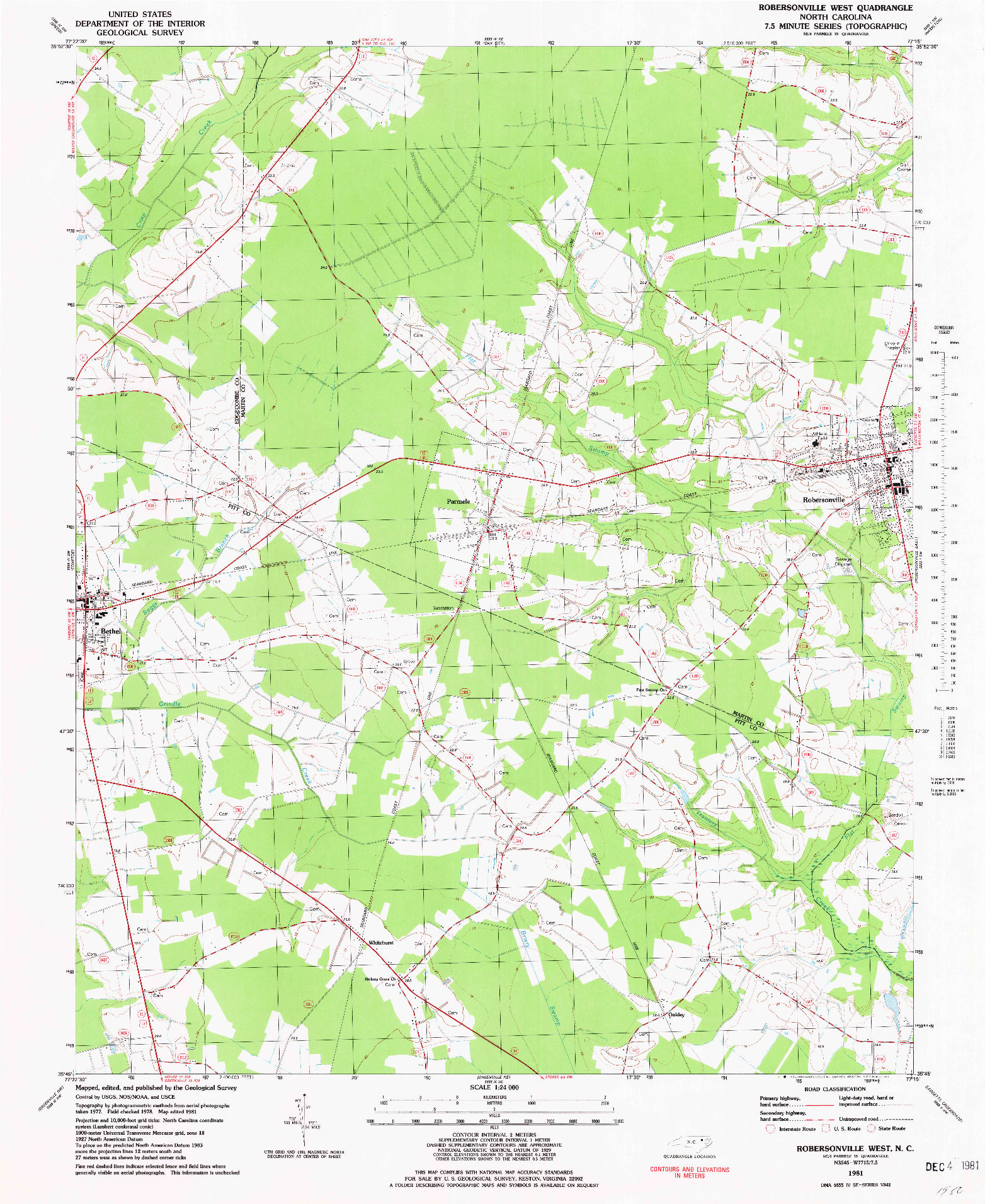 USGS 1:24000-SCALE QUADRANGLE FOR ROBERSONSVILLE WEST, NC 1981