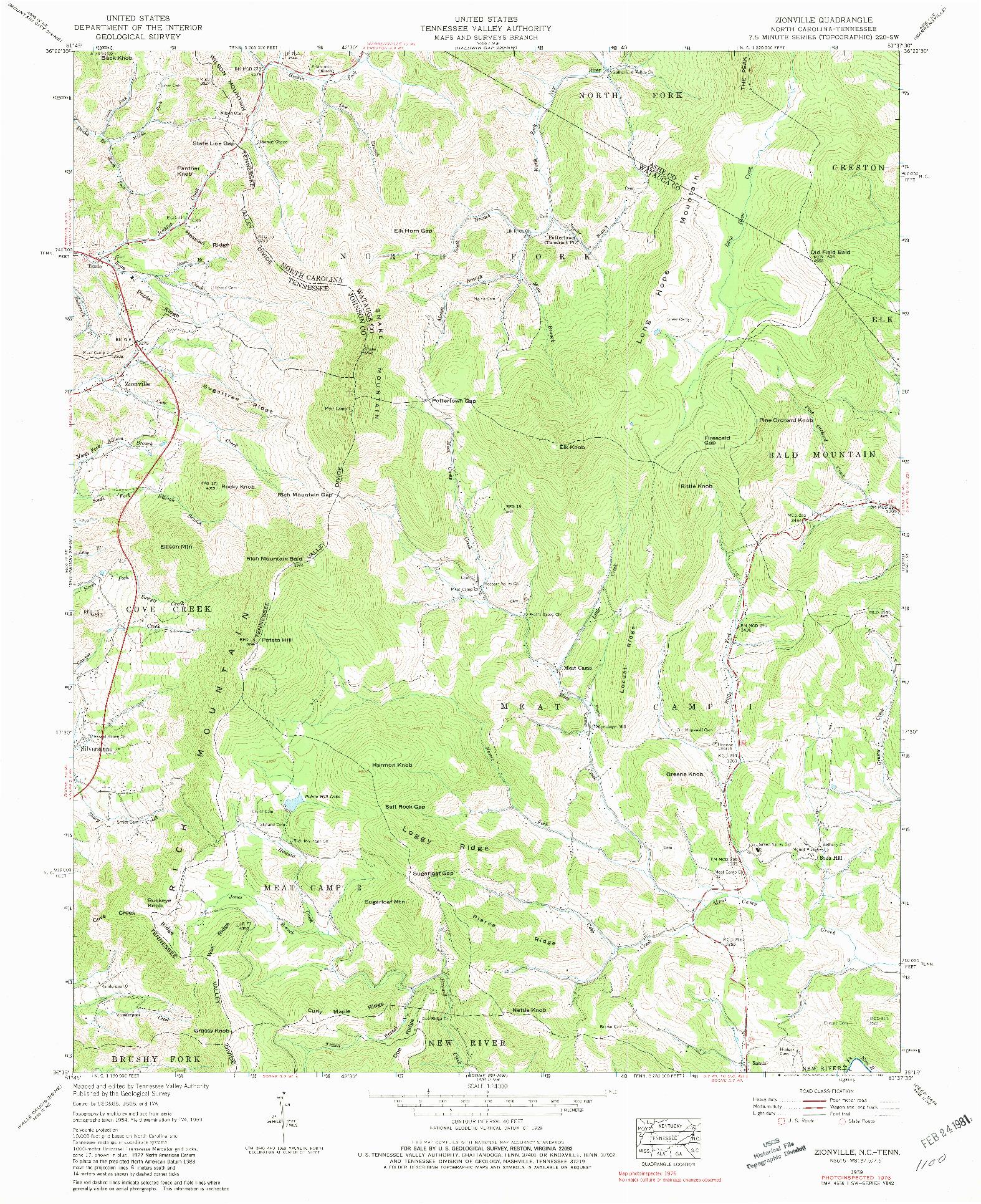 USGS 1:24000-SCALE QUADRANGLE FOR ZIONVILLE, NC 1959