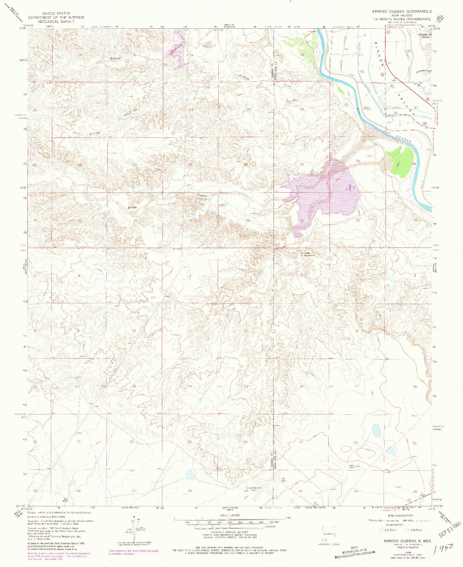 USGS 1:24000-SCALE QUADRANGLE FOR ARROYO CUERVO, NM 1958
