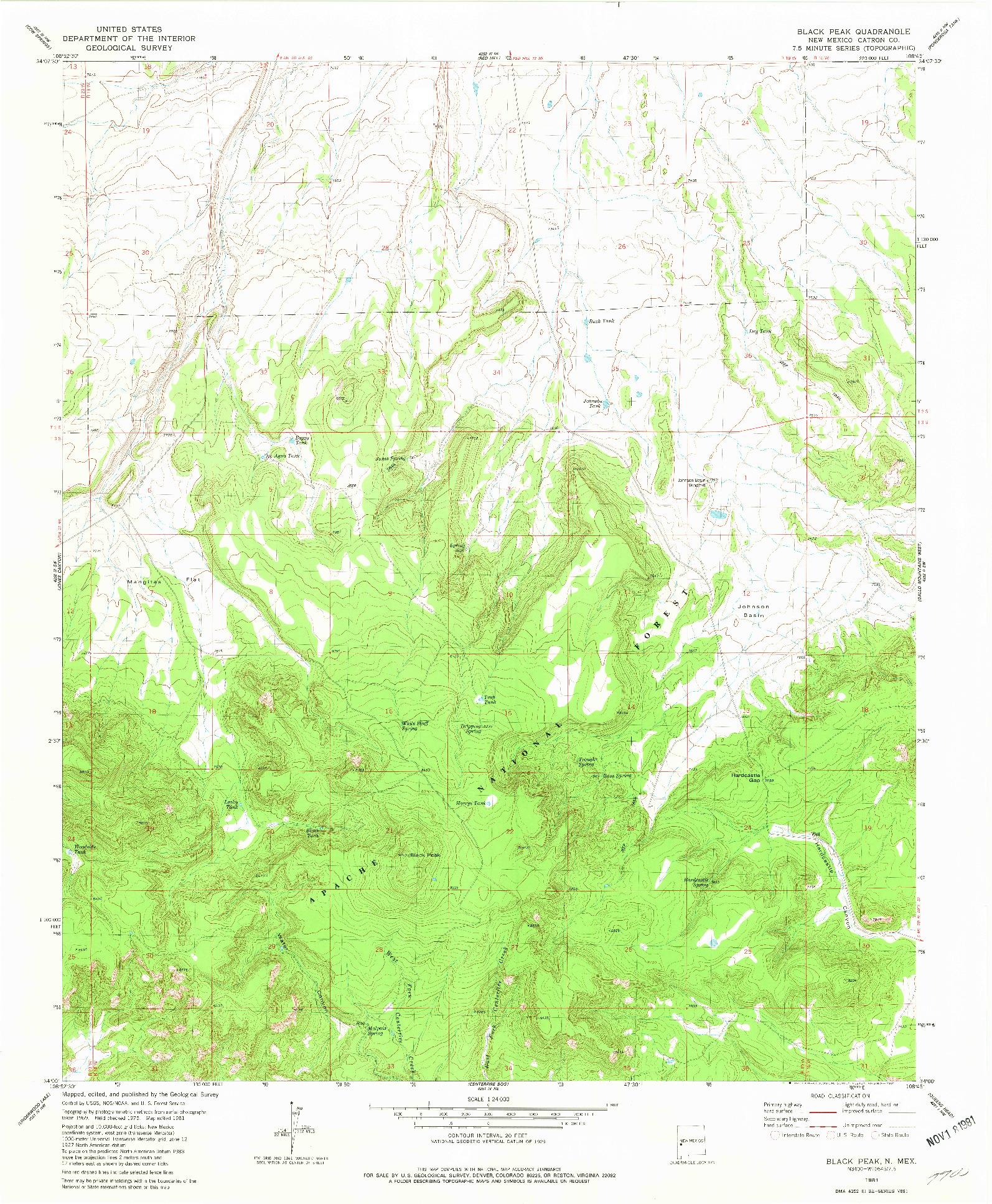 USGS 1:24000-SCALE QUADRANGLE FOR BLACK HILL, NM 1981