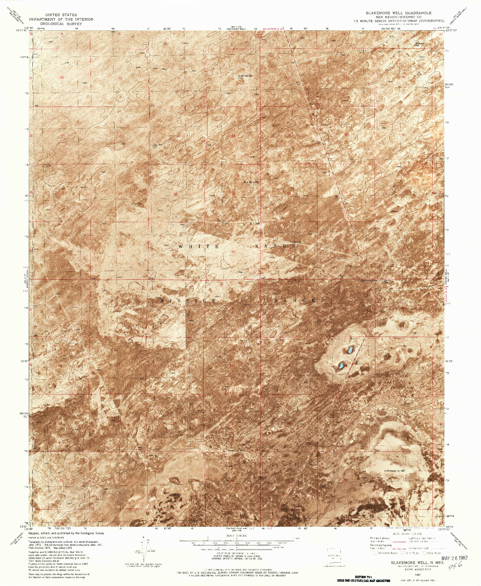 USGS 1:24000-SCALE QUADRANGLE FOR BLAKEMORE WELL, NM 1981