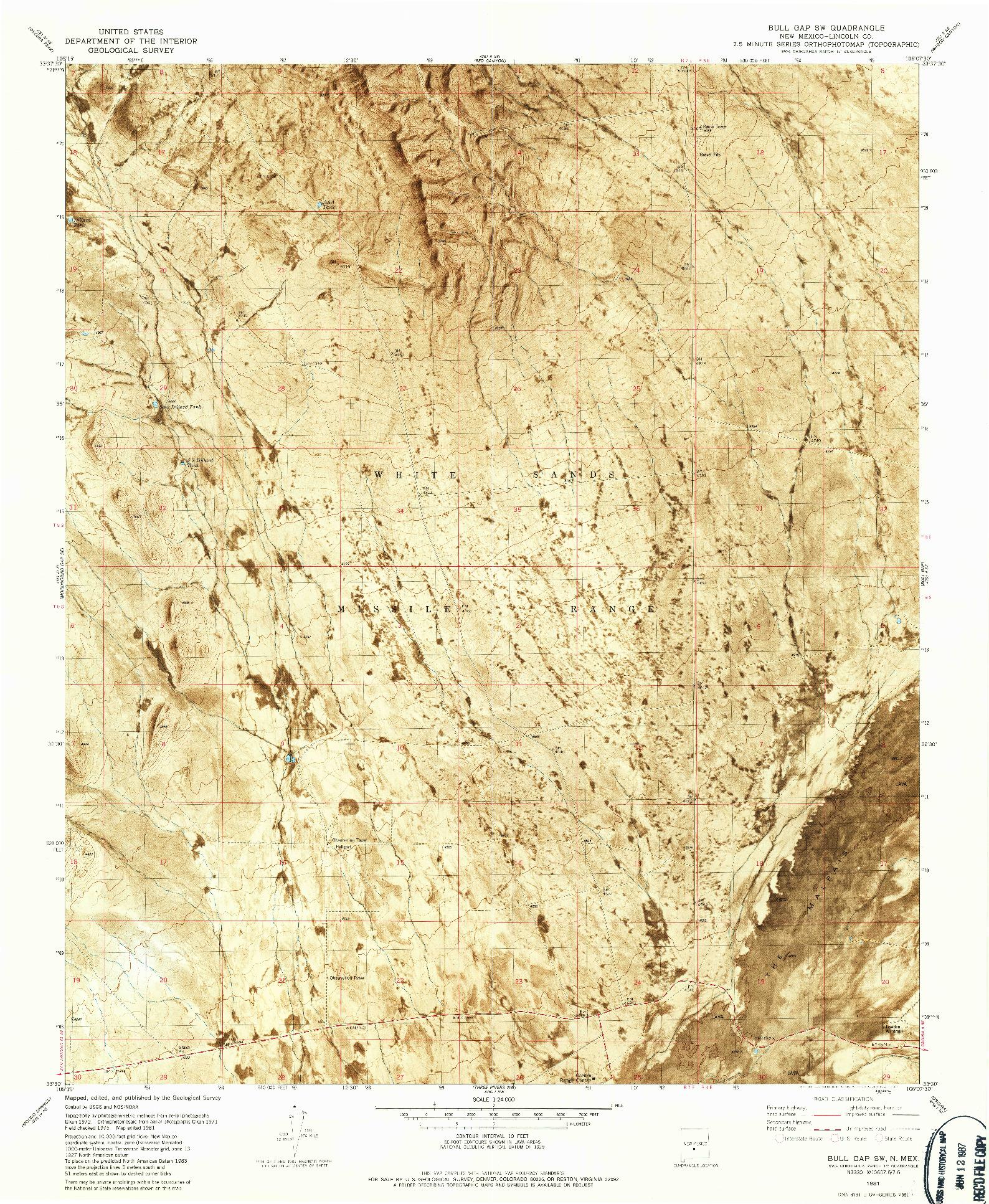 USGS 1:24000-SCALE QUADRANGLE FOR BULL GAP SW, NM 1981