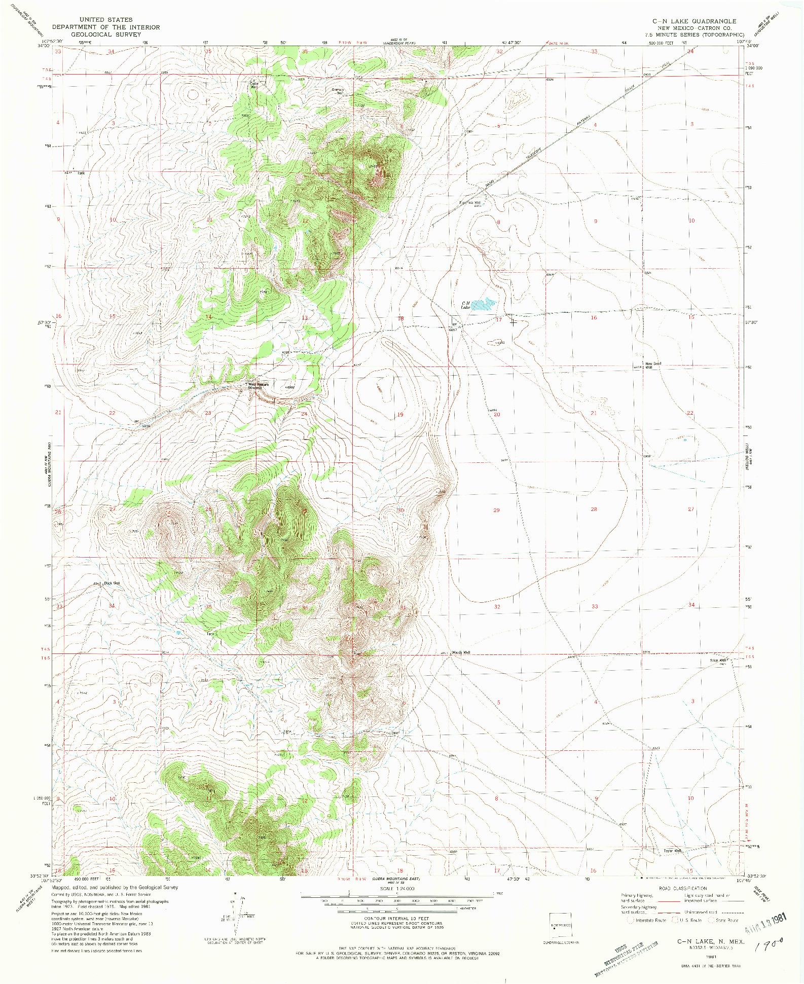 USGS 1:24000-SCALE QUADRANGLE FOR C N LAKE, NM 1981