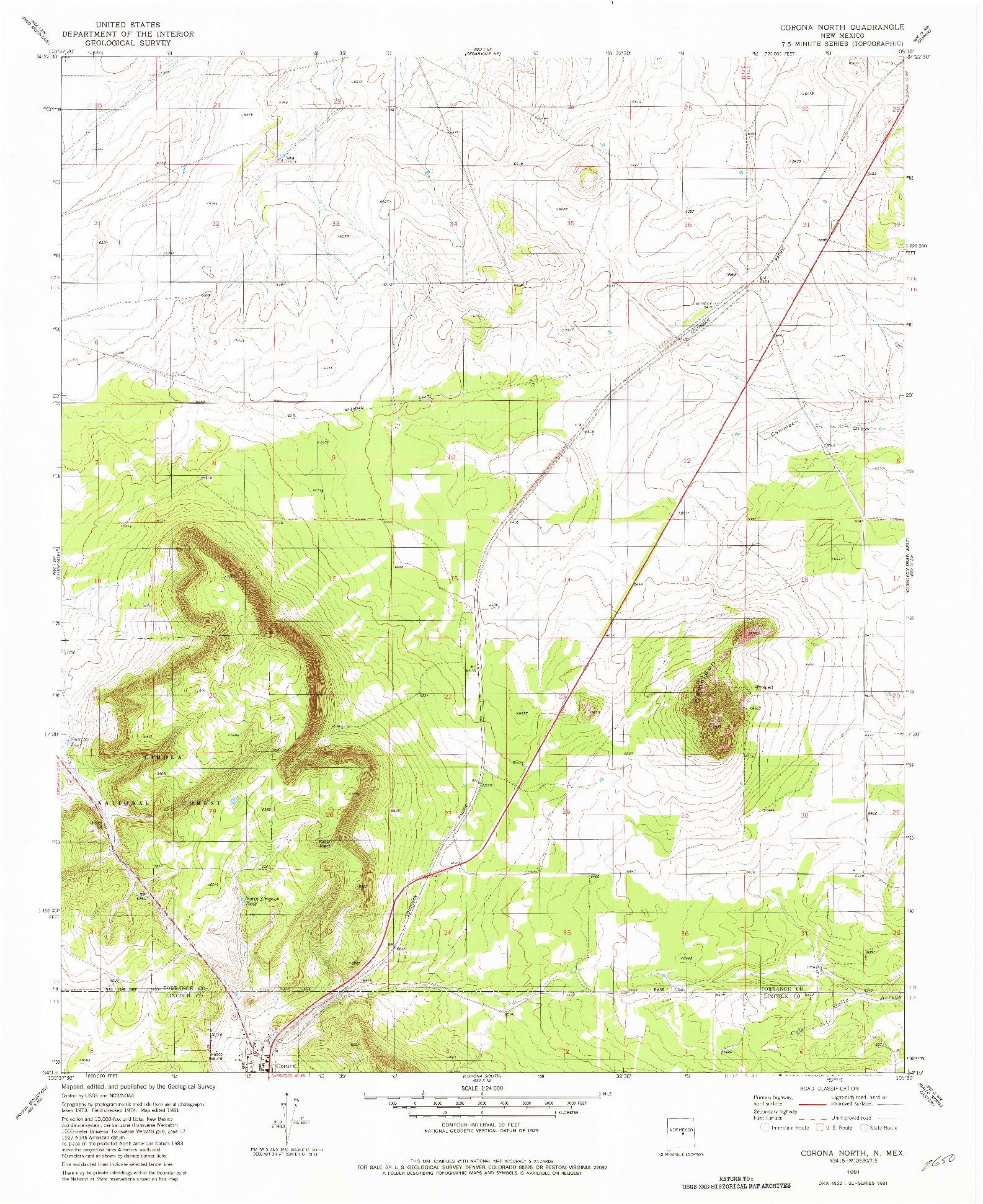 USGS 1:24000-SCALE QUADRANGLE FOR CORONA NORTH, NM 1981