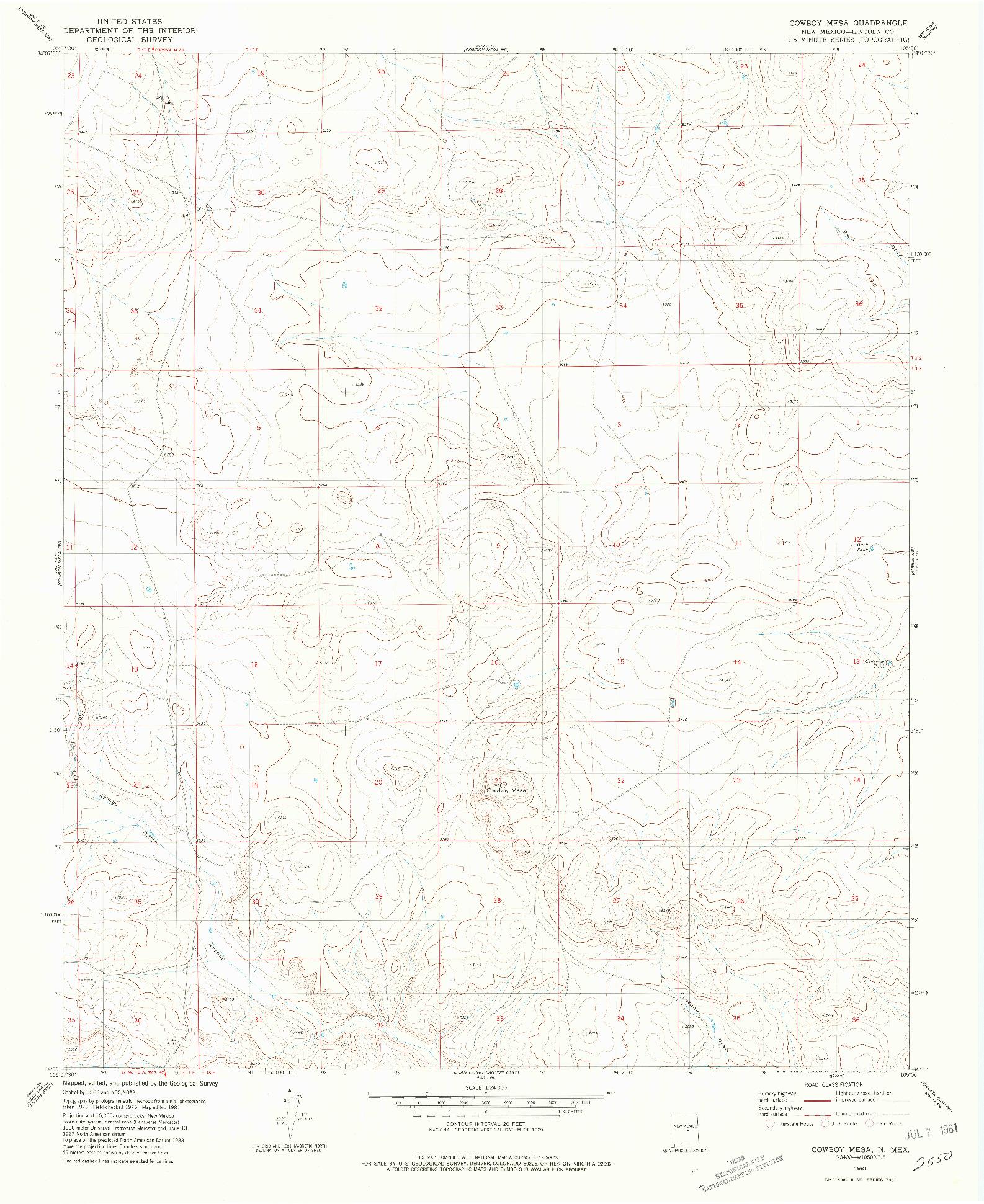 USGS 1:24000-SCALE QUADRANGLE FOR COWBOY MESA, NM 1981
