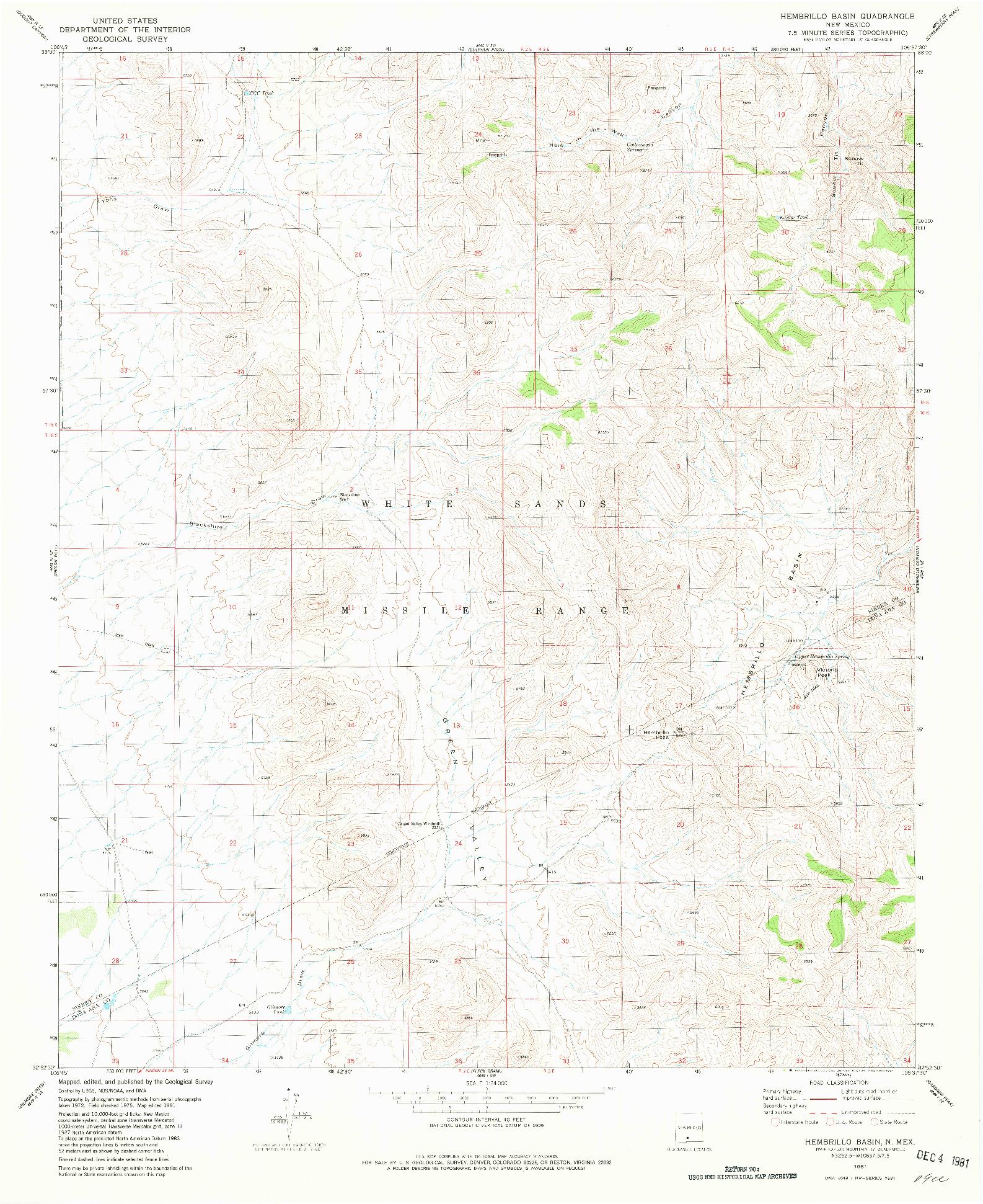 USGS 1:24000-SCALE QUADRANGLE FOR HEMBRILLO BASIN, NM 1981