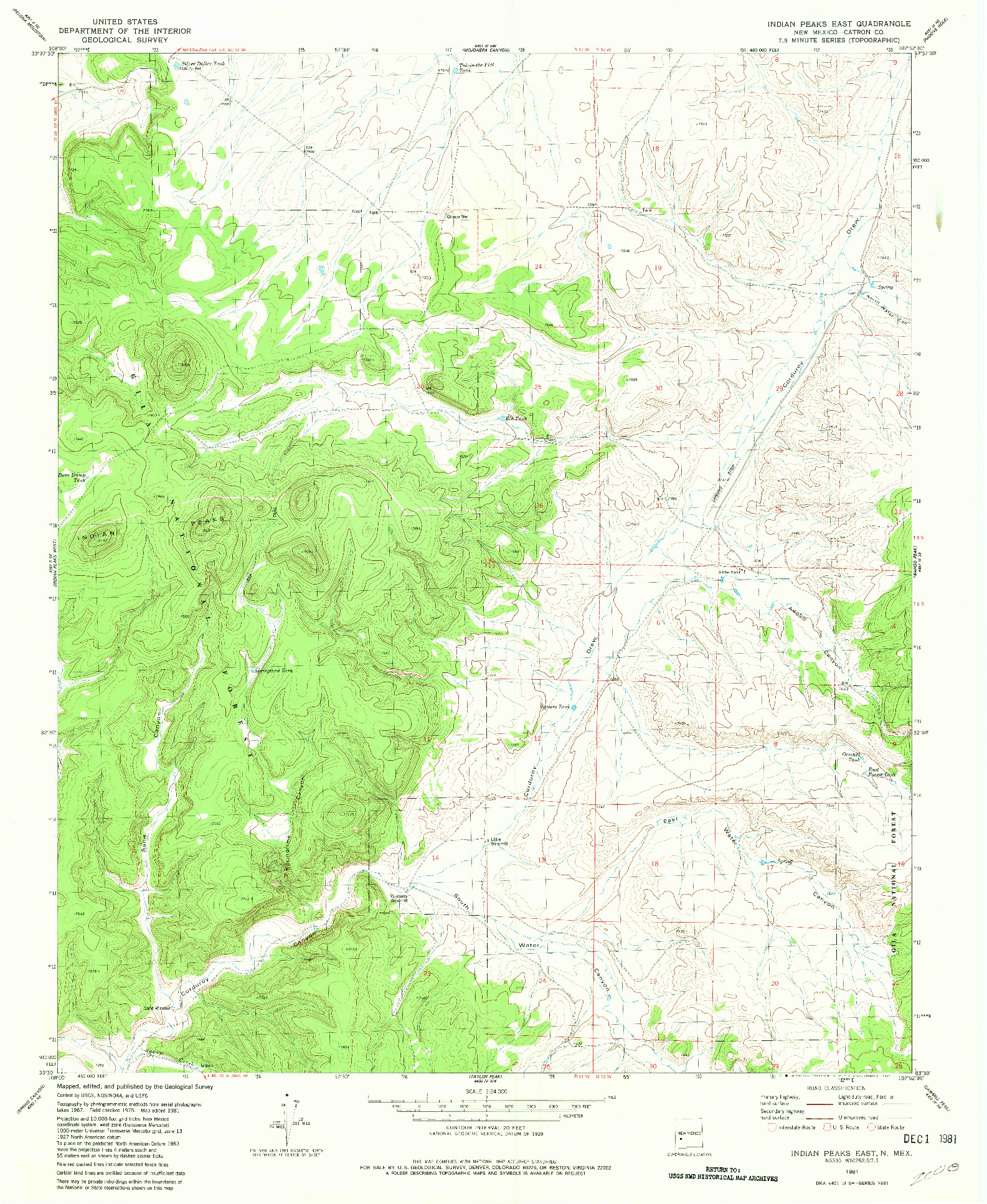 USGS 1:24000-SCALE QUADRANGLE FOR INDIAN PEAKS EAST, NM 1981