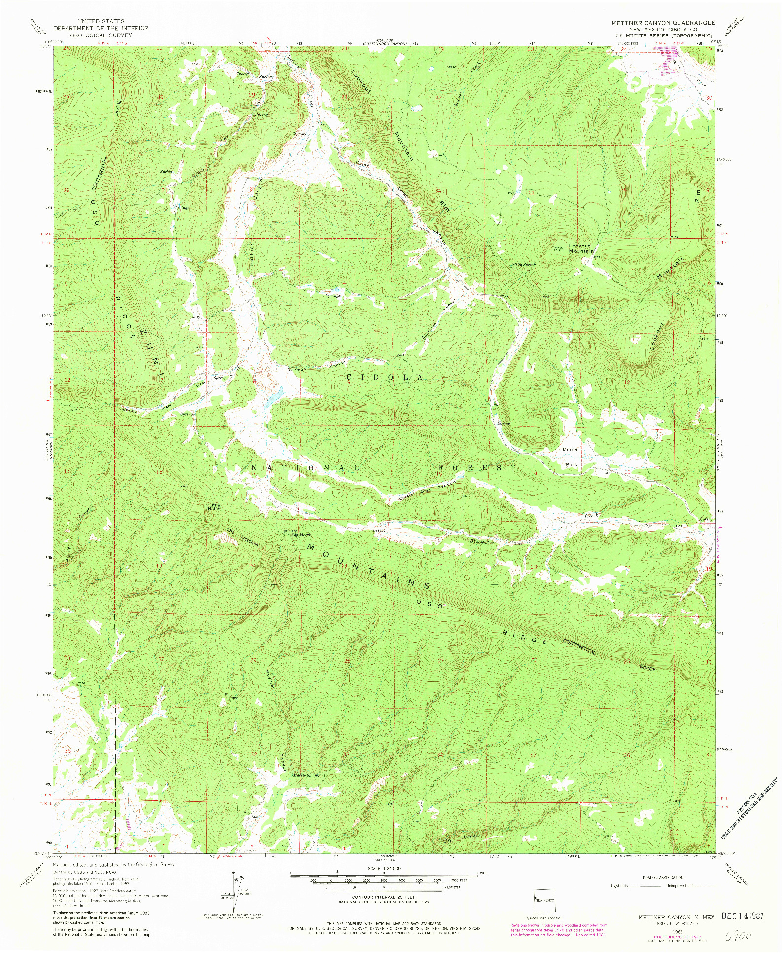 USGS 1:24000-SCALE QUADRANGLE FOR KETTNER CANYON, NM 1963