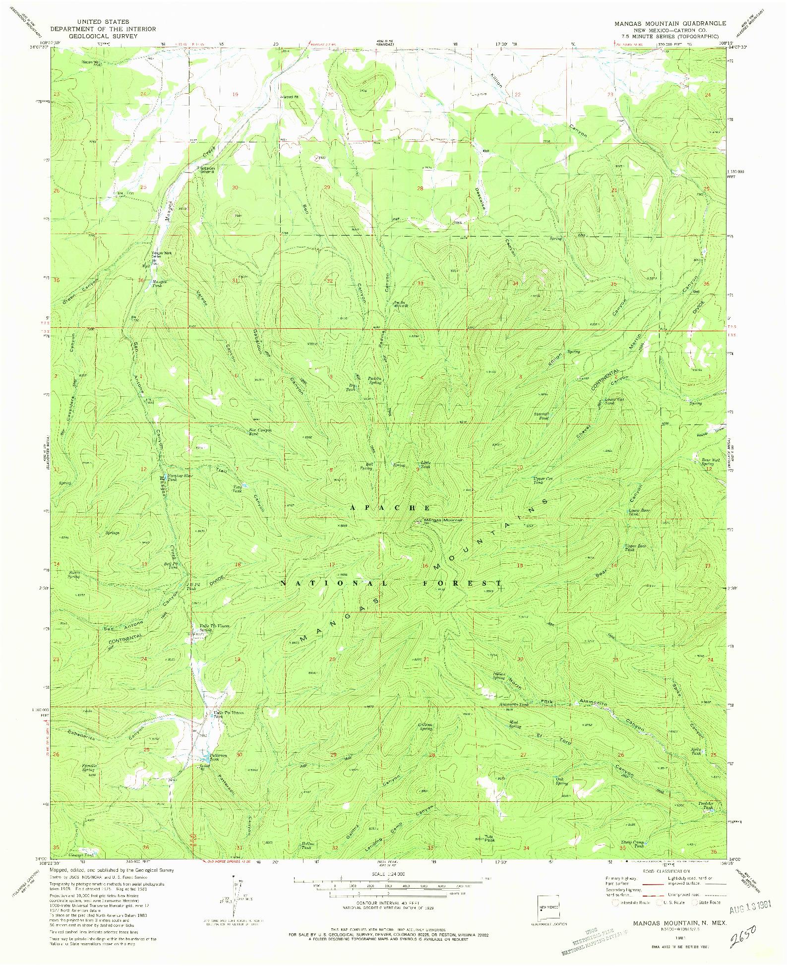 USGS 1:24000-SCALE QUADRANGLE FOR MANGAS MOUNTAIN, NM 1981
