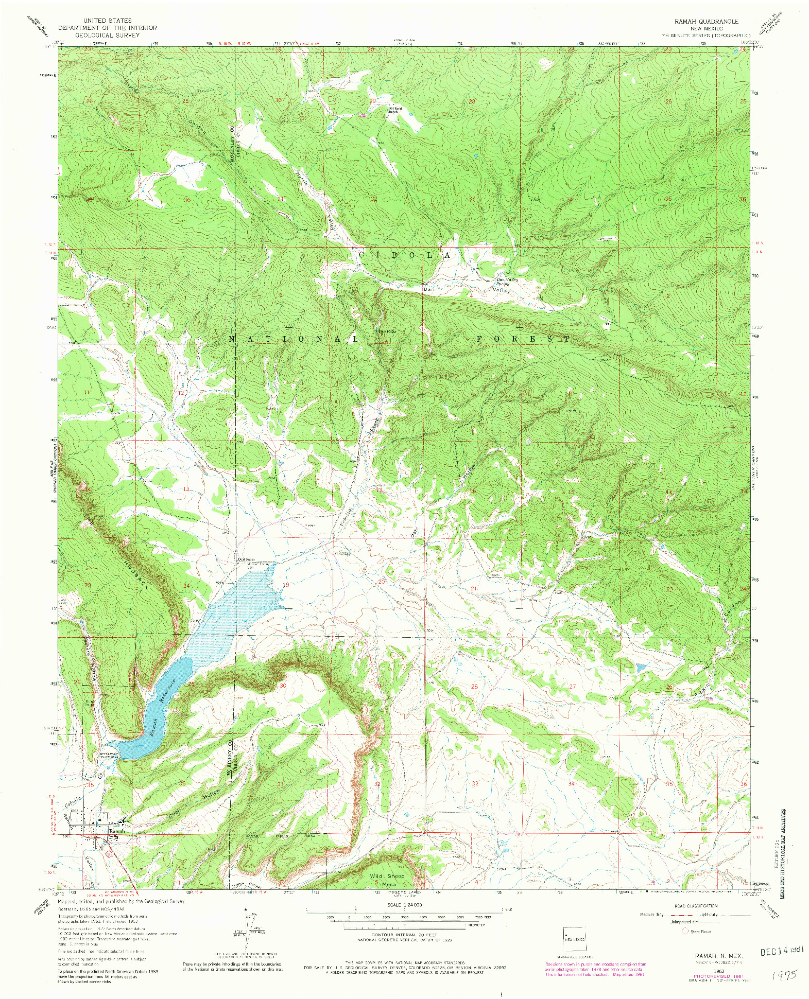 USGS 1:24000-SCALE QUADRANGLE FOR RAMAH, NM 1963