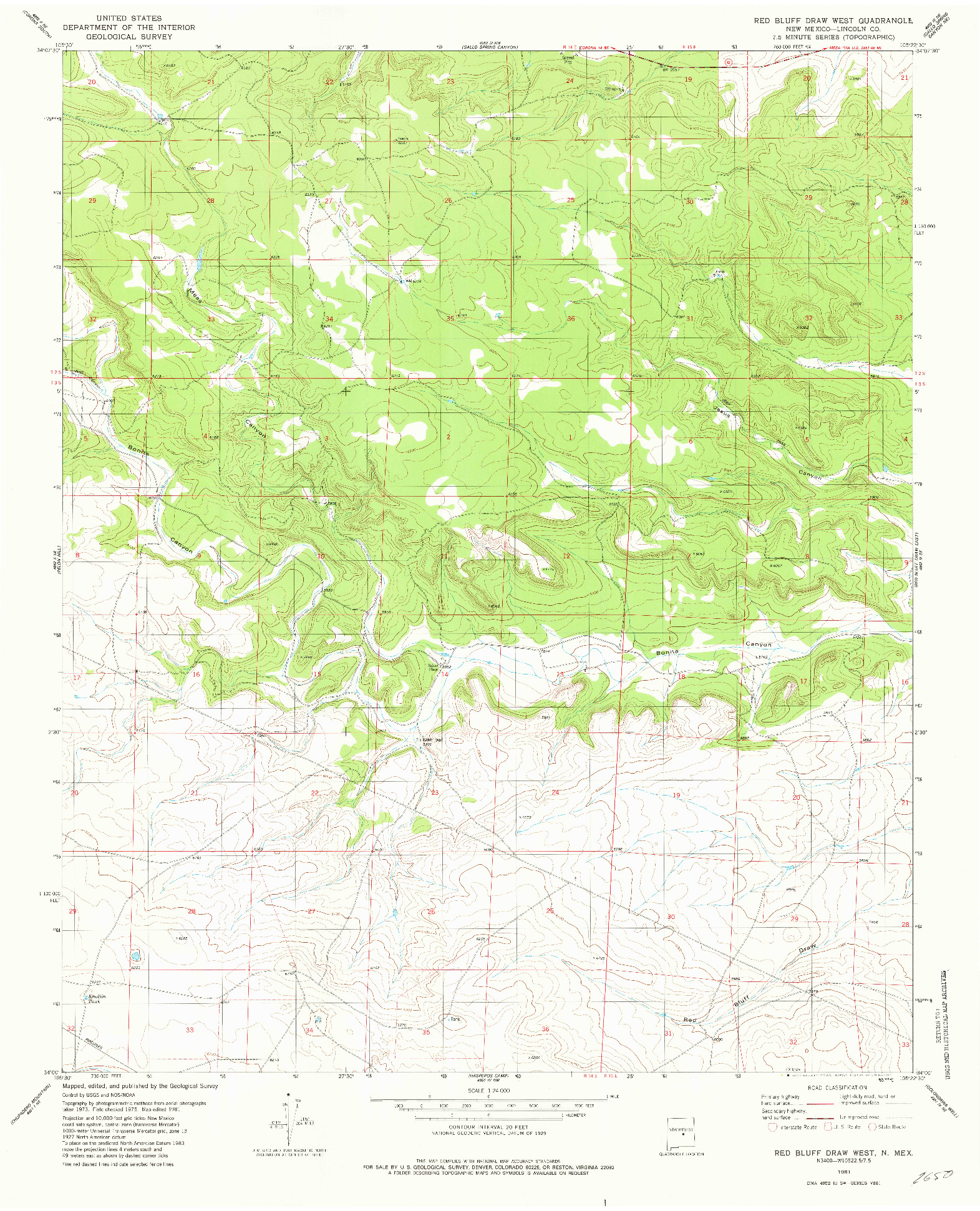 USGS 1:24000-SCALE QUADRANGLE FOR RED BLUFF DRAW WEST, NM 1981