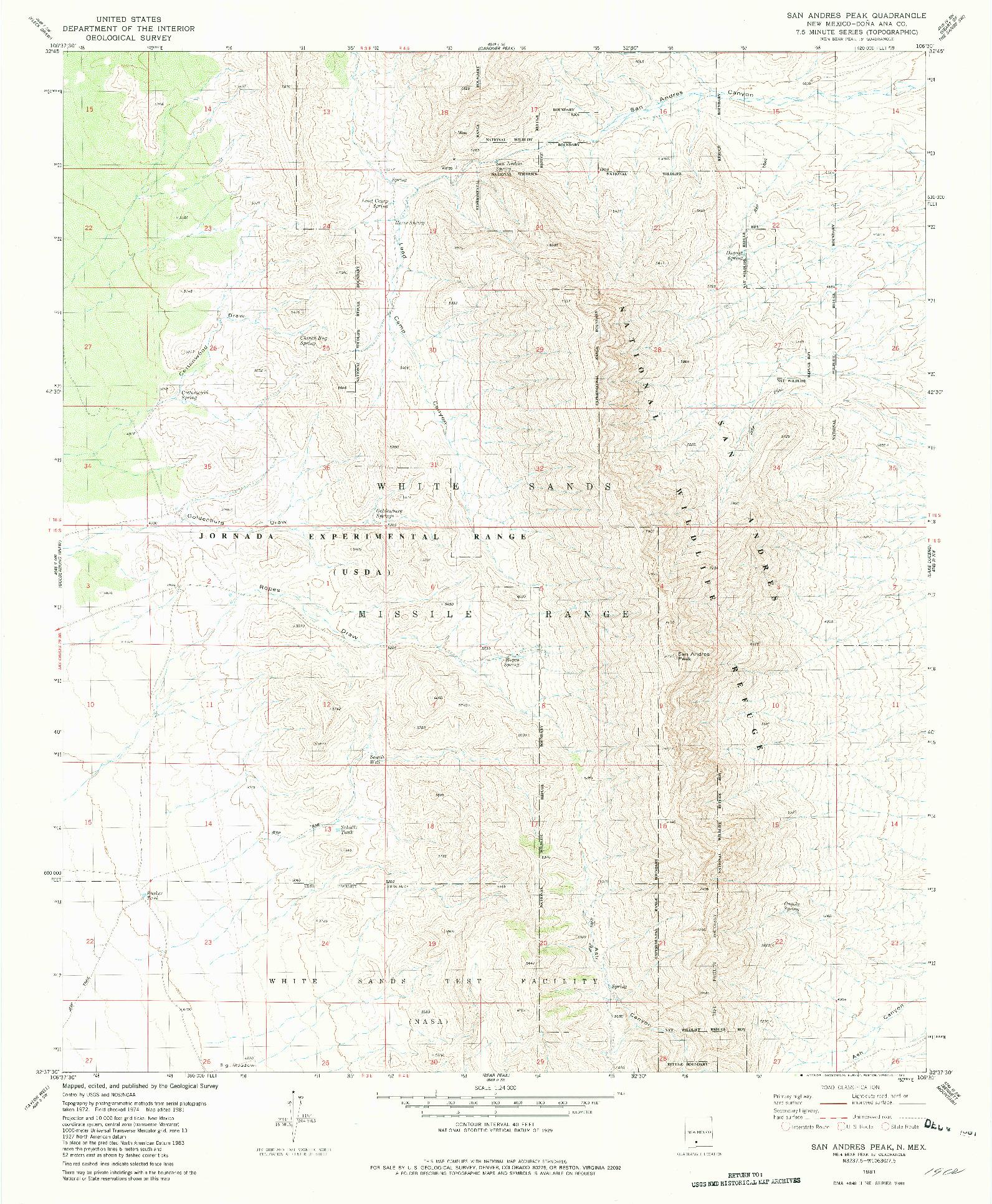 USGS 1:24000-SCALE QUADRANGLE FOR SAN ANDRES PEAK, NM 1981