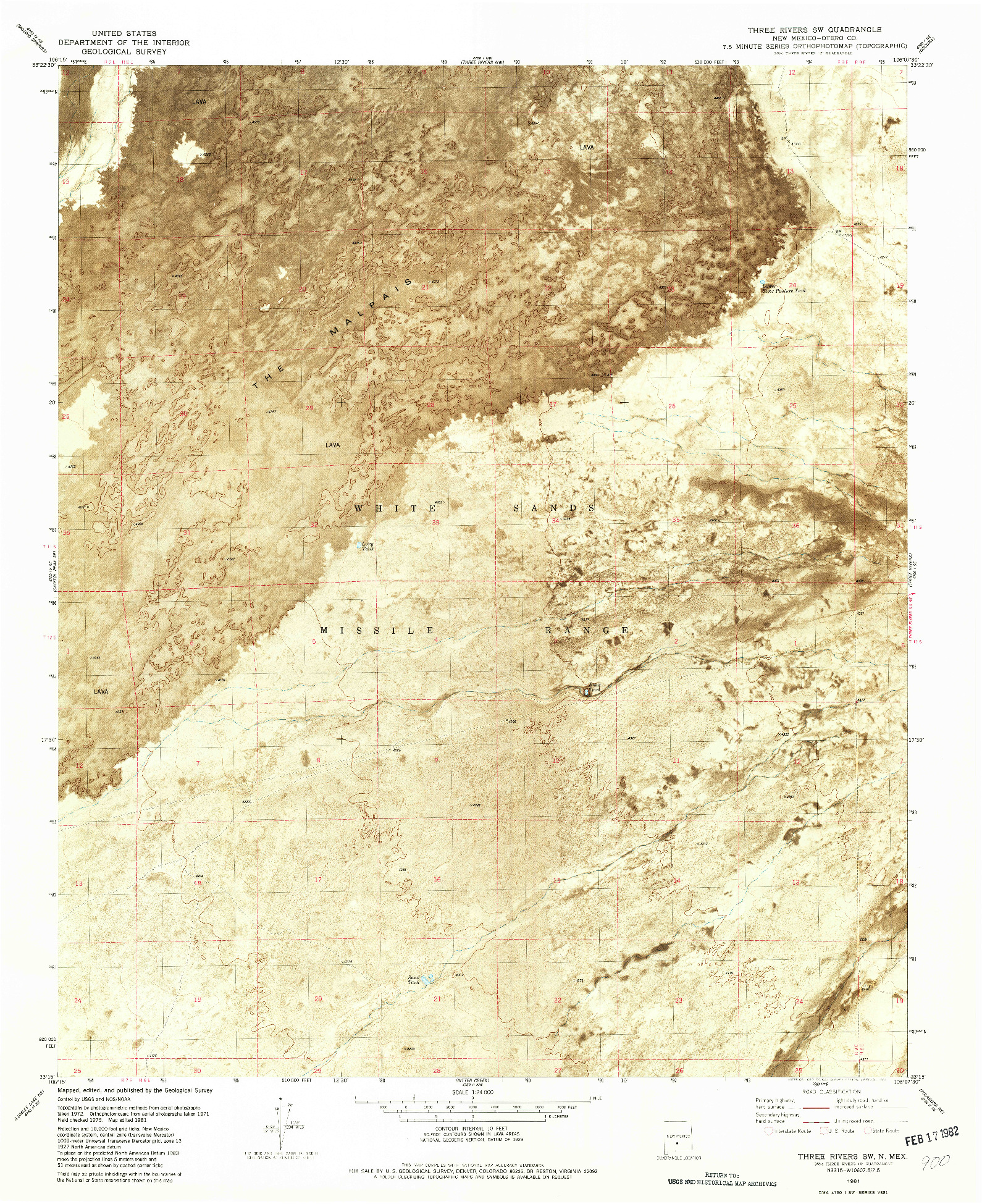 USGS 1:24000-SCALE QUADRANGLE FOR THREE RIVERS SW, NM 1981