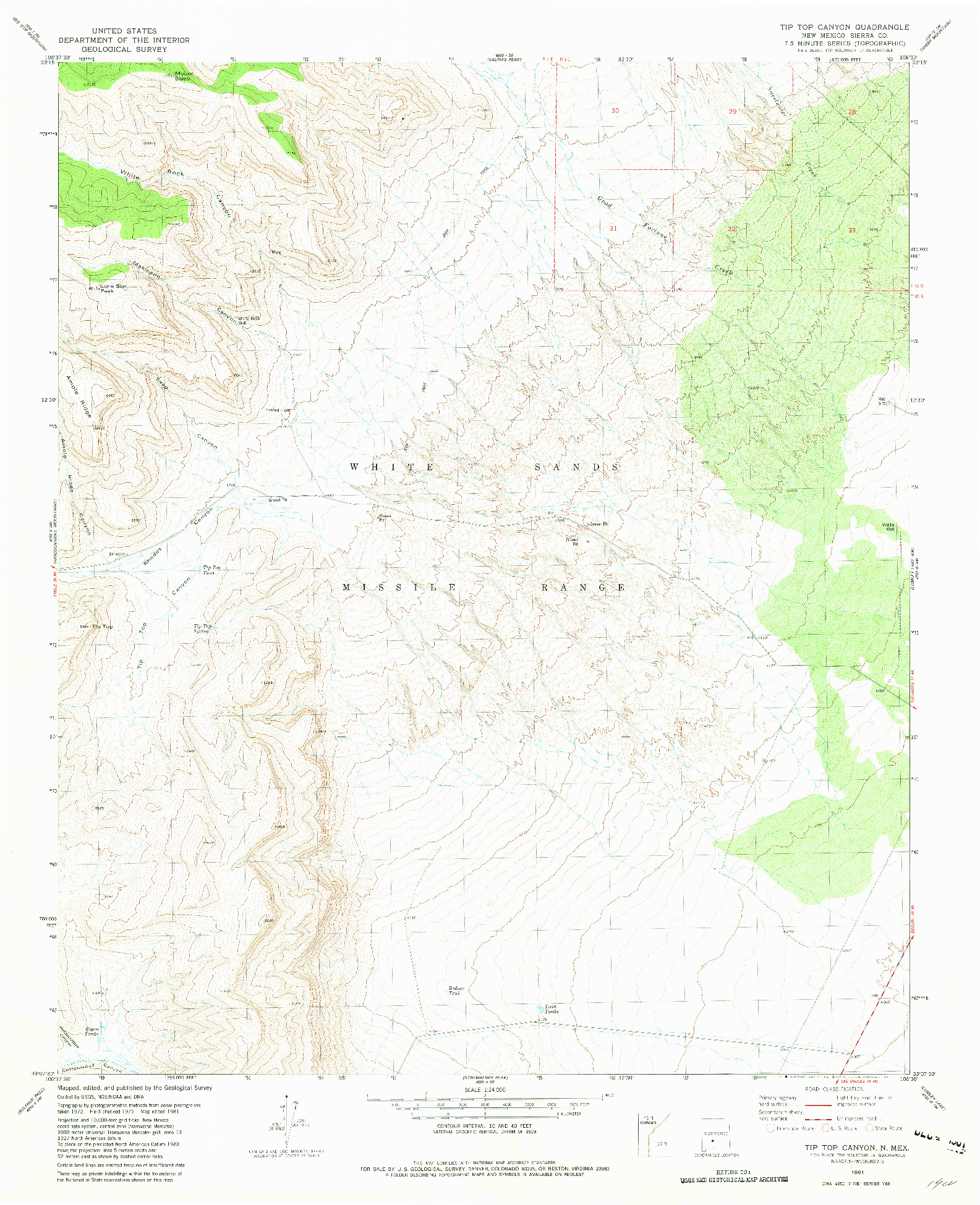 USGS 1:24000-SCALE QUADRANGLE FOR TIP TOP CANYON, NM 1981