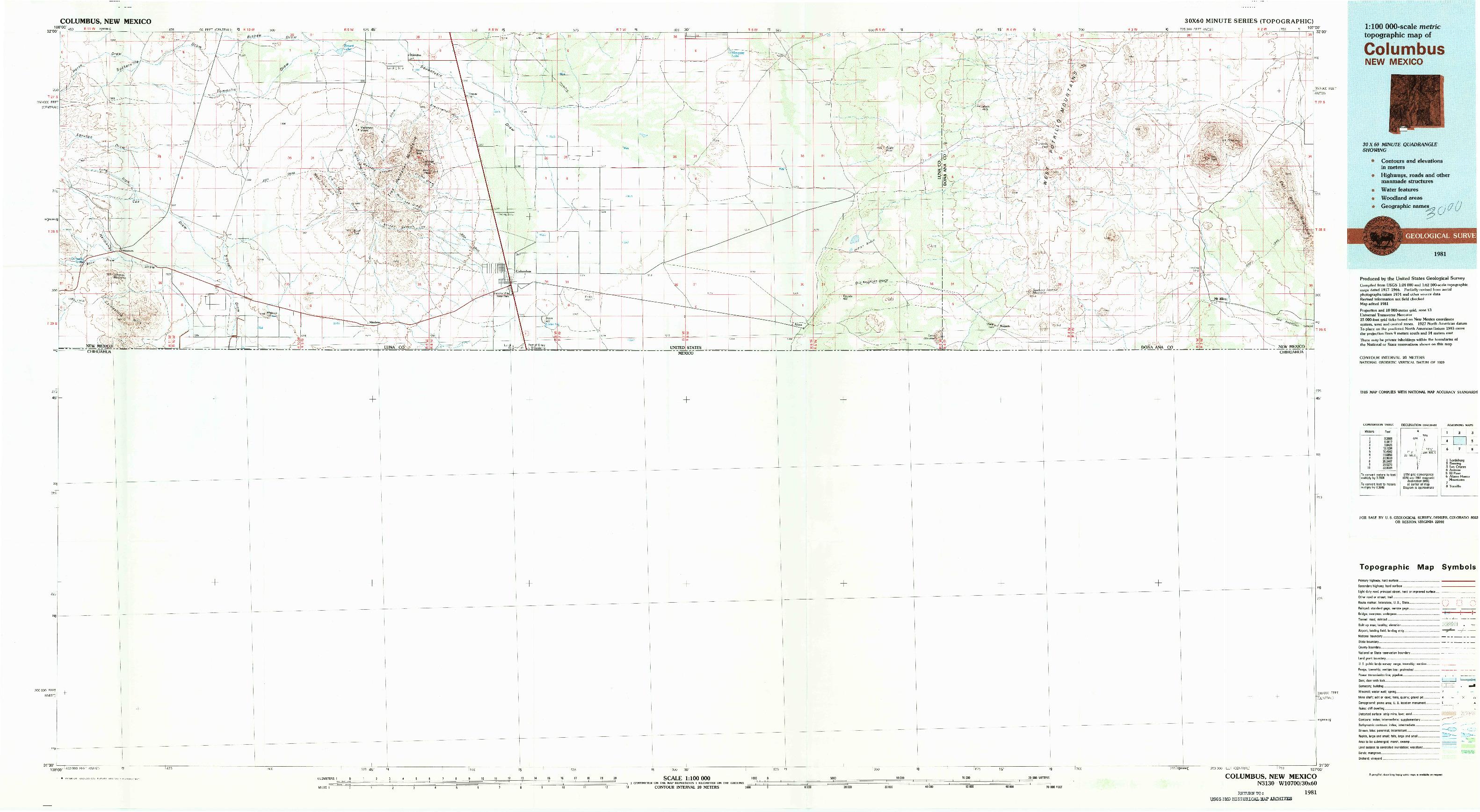 USGS 1:100000-SCALE QUADRANGLE FOR COLUMBUS, NM 1981
