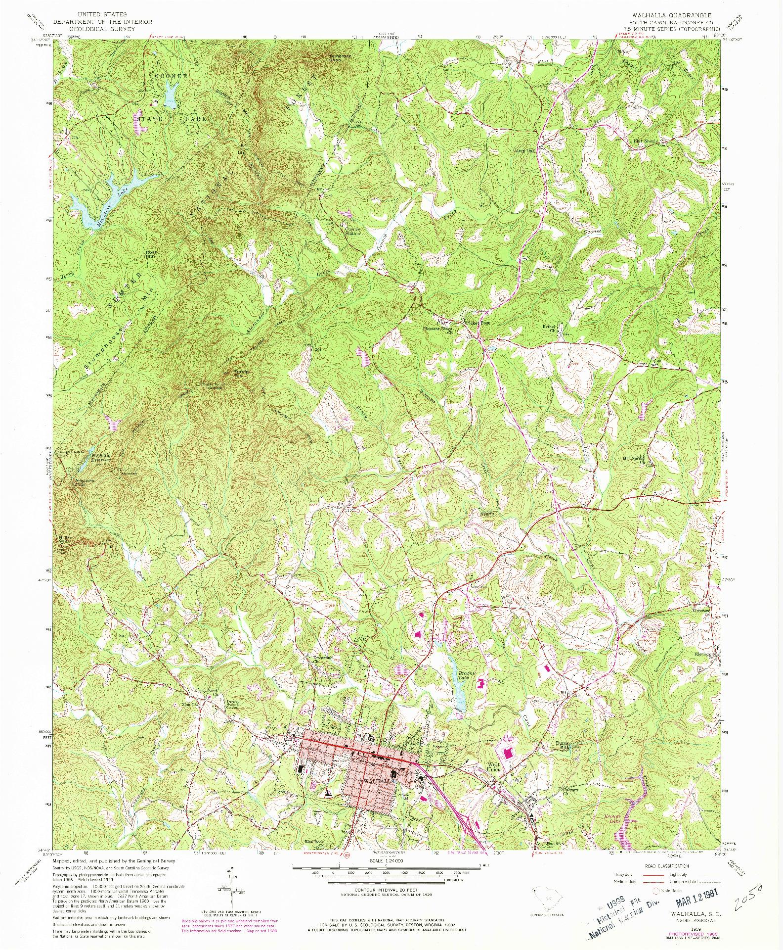 USGS 1:24000-SCALE QUADRANGLE FOR WALHALLA, SC 1959