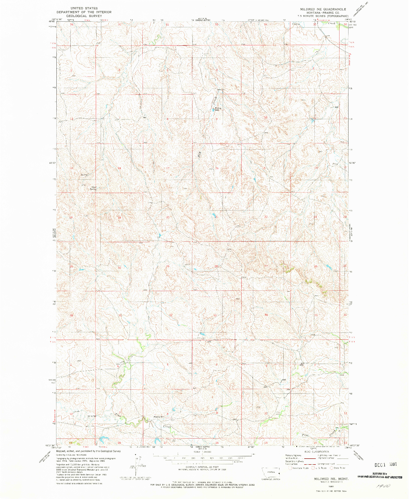 USGS 1:24000-SCALE QUADRANGLE FOR MILDRED NE, MT 1981