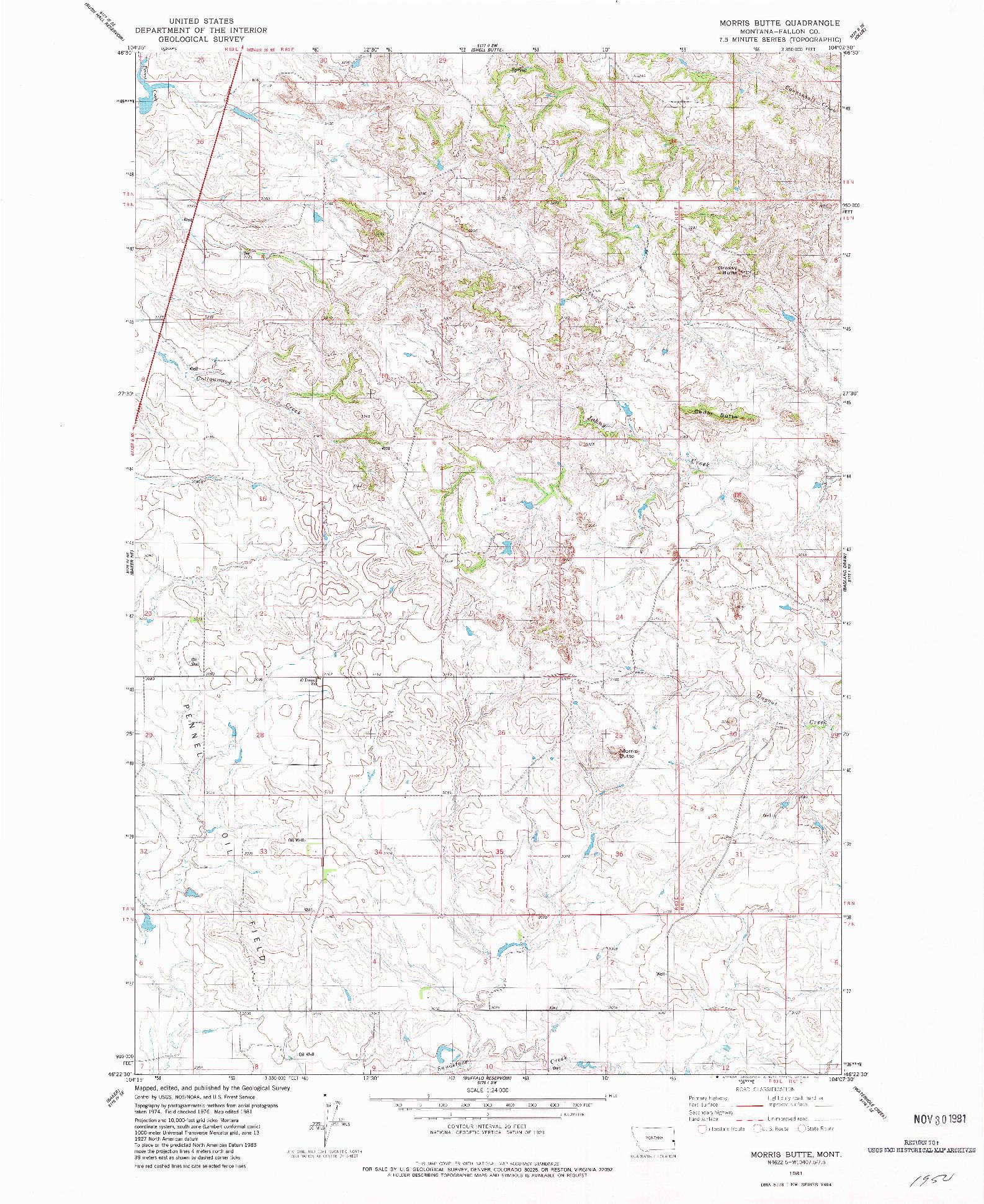 USGS 1:24000-SCALE QUADRANGLE FOR MORRIS BUTTE, MT 1981