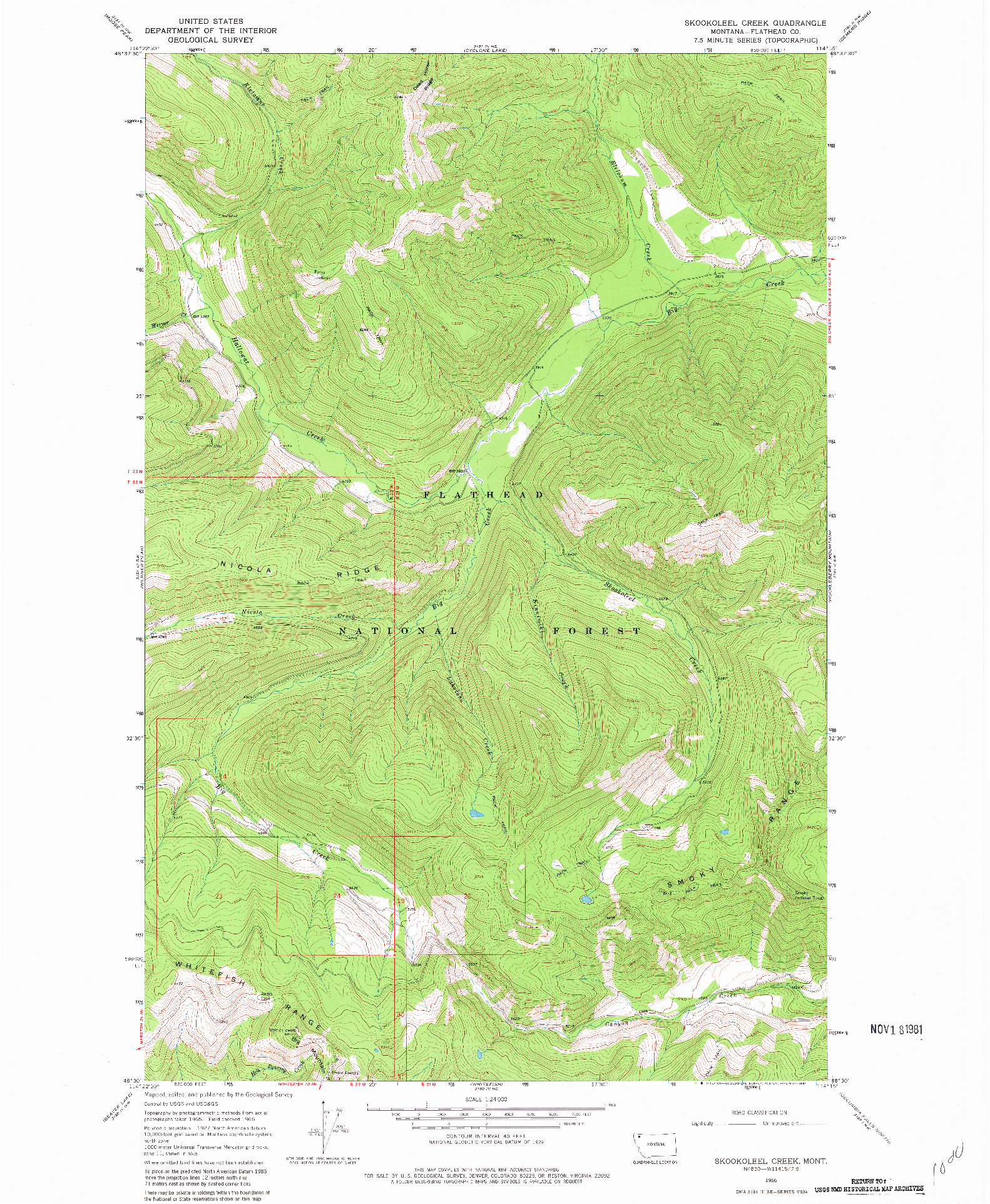 USGS 1:24000-SCALE QUADRANGLE FOR SKOOKOLEEL CREEK, MT 1966