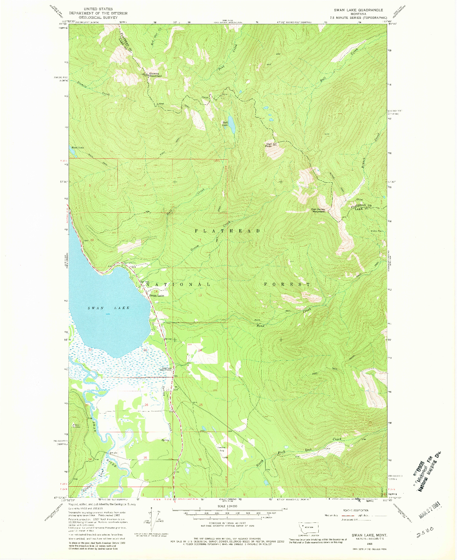 USGS 1:24000-SCALE QUADRANGLE FOR SWAN LAKE, MT 1965
