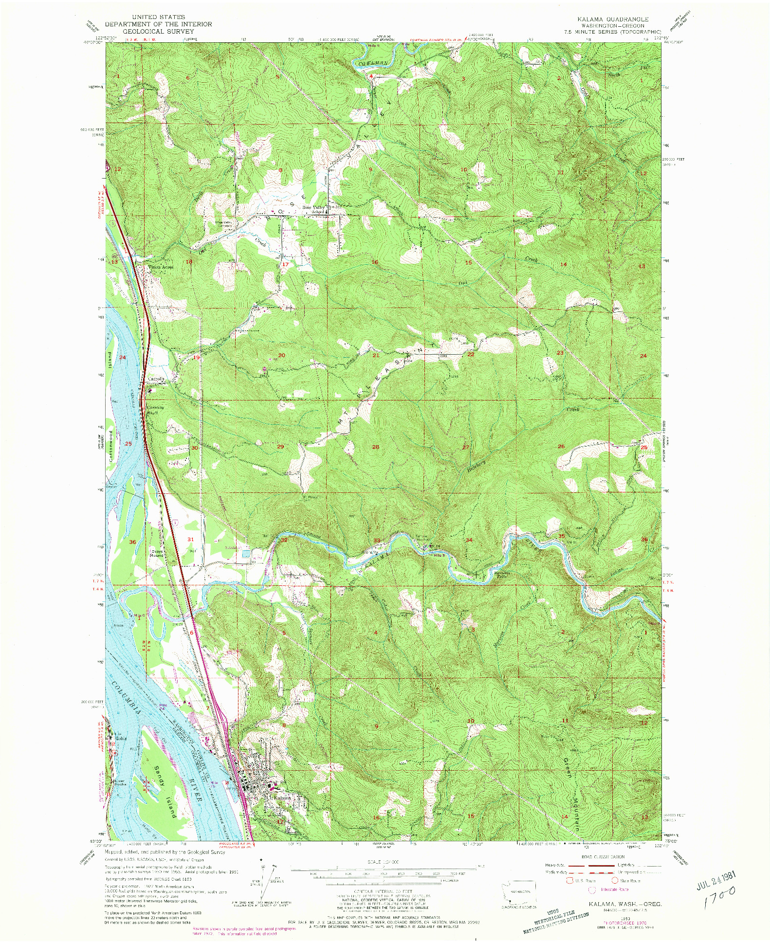 USGS 1:24000-SCALE QUADRANGLE FOR KALAMA, WA 1953