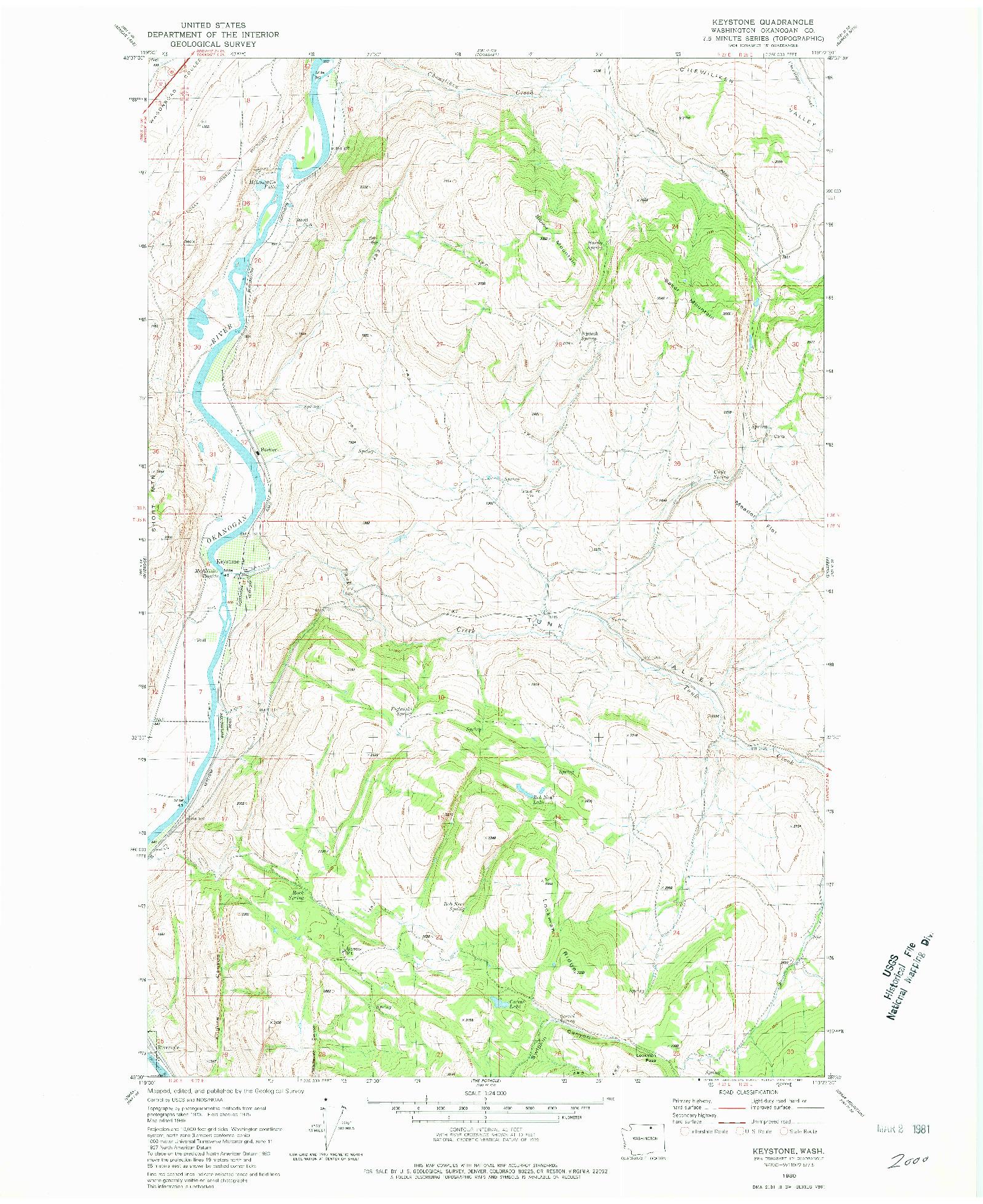 USGS 1:24000-SCALE QUADRANGLE FOR KEYSTONE, WA 1980