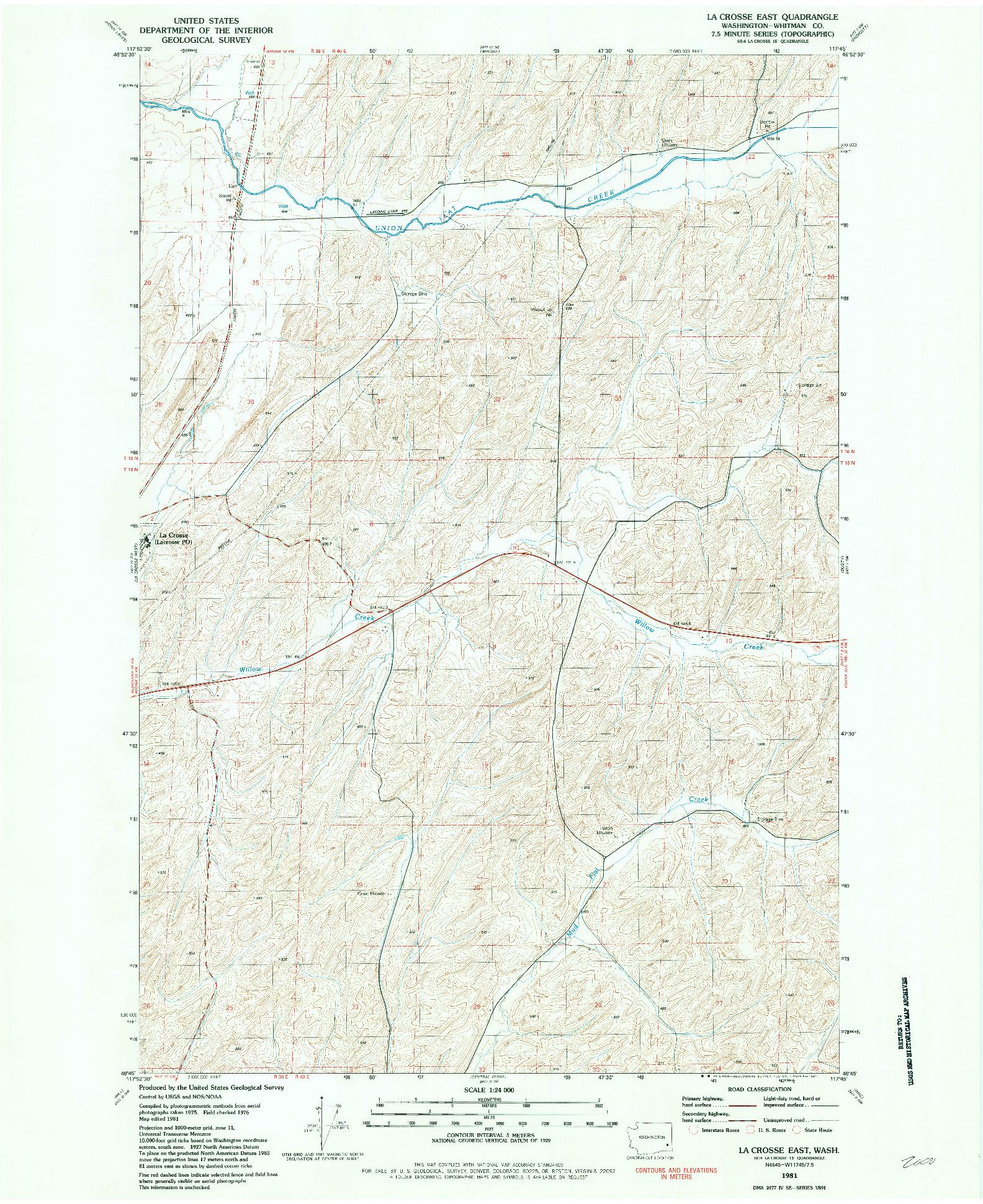USGS 1:24000-SCALE QUADRANGLE FOR LA CROSSE EAST, WA 1981