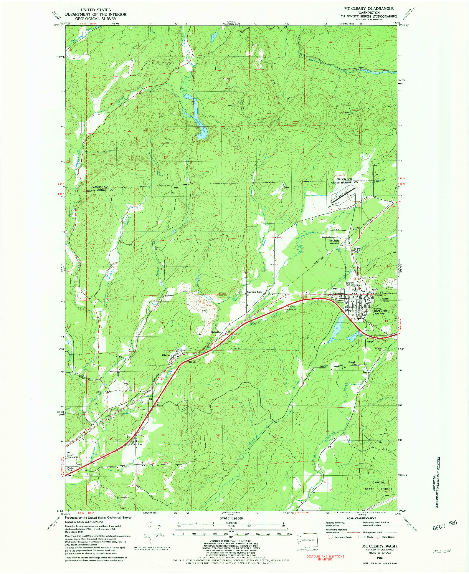 USGS 1:24000-SCALE QUADRANGLE FOR MC CLEARY, WA 1981