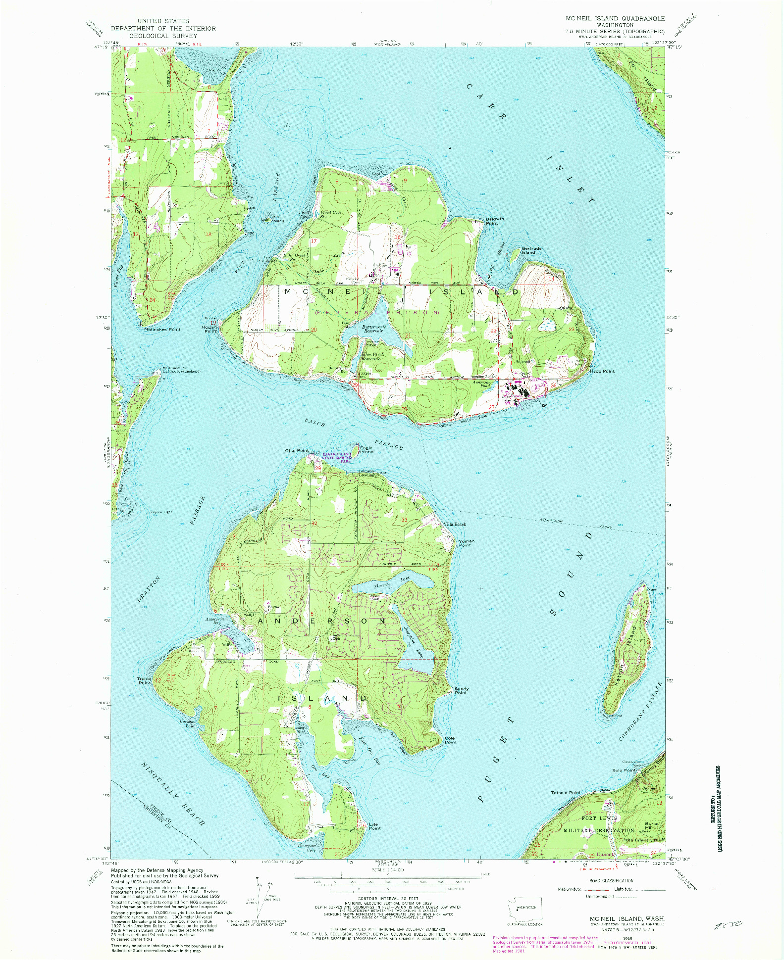 USGS 1:24000-SCALE QUADRANGLE FOR MC NEIL ISLAND, WA 1959