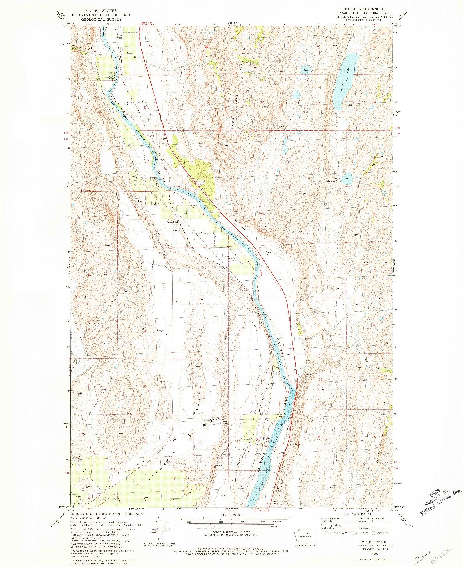 USGS 1:24000-SCALE QUADRANGLE FOR MONSE, WA 1980
