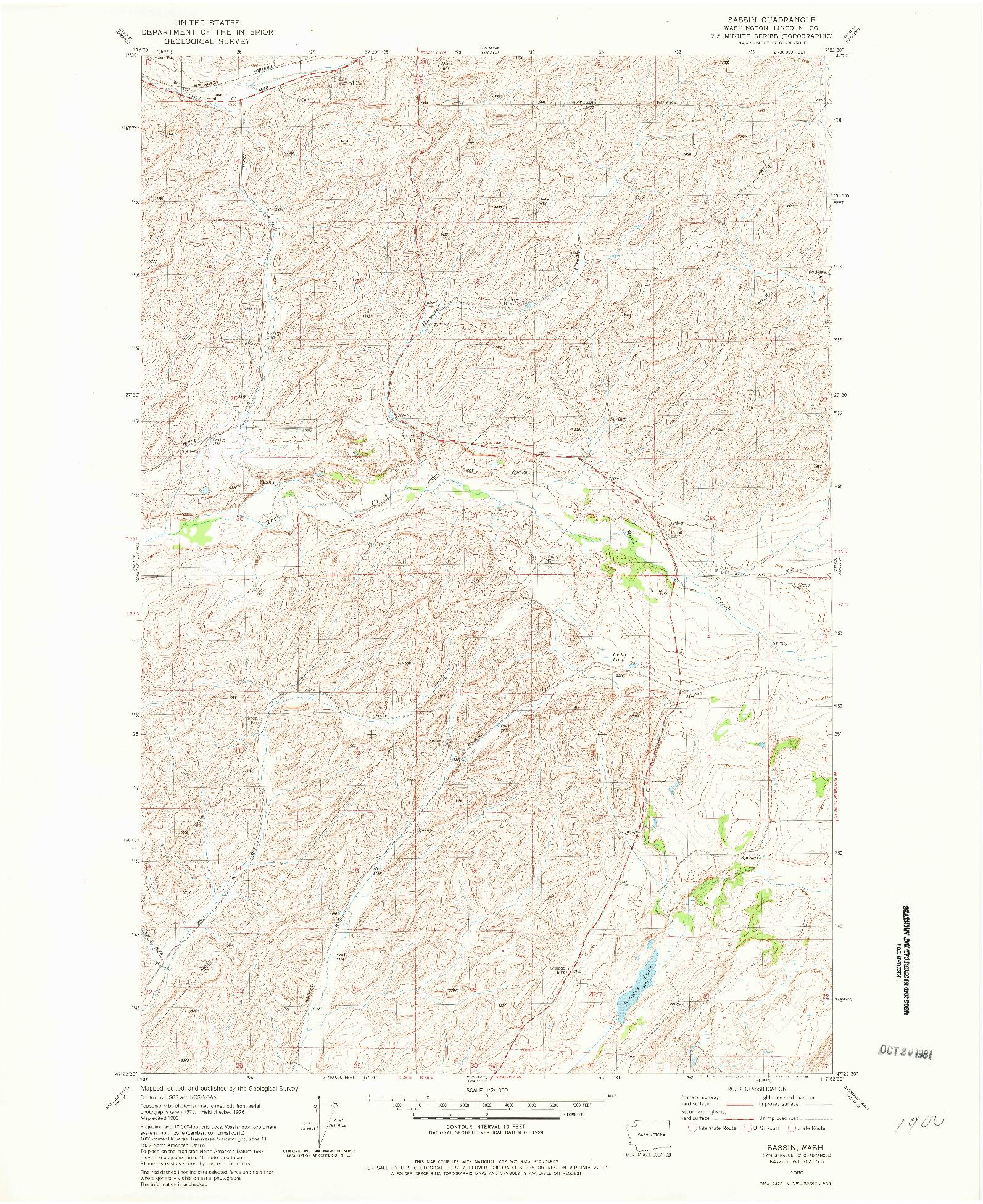USGS 1:24000-SCALE QUADRANGLE FOR SASSIN, WA 1980
