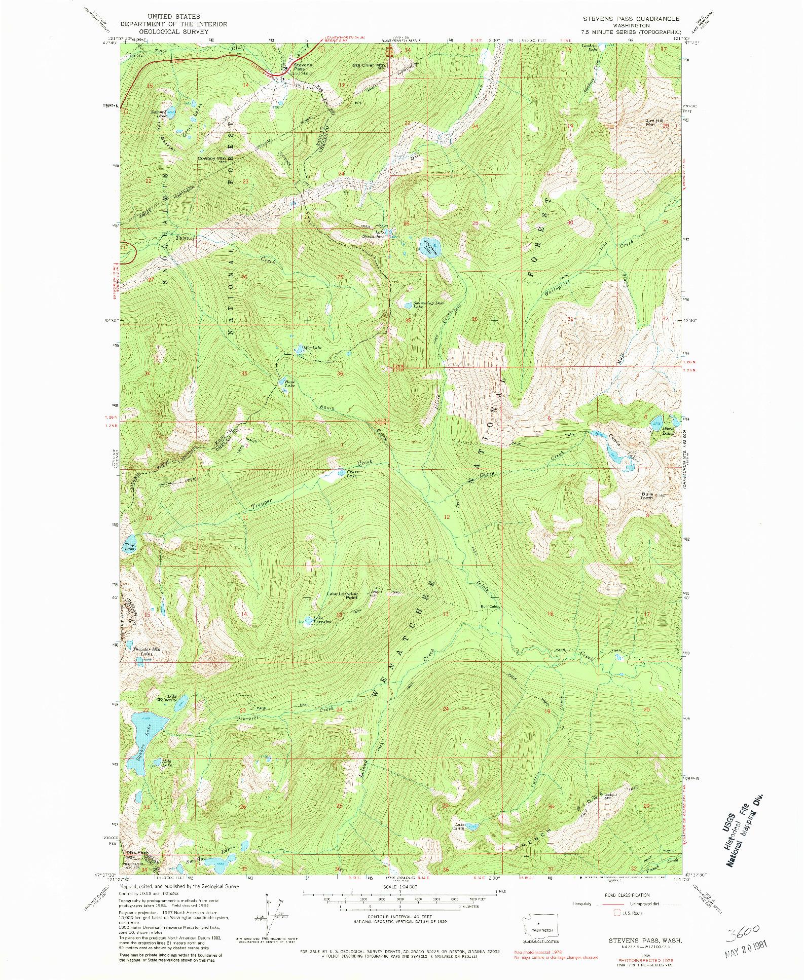 USGS 1:24000-SCALE QUADRANGLE FOR STEVENS PASS, WA 1965