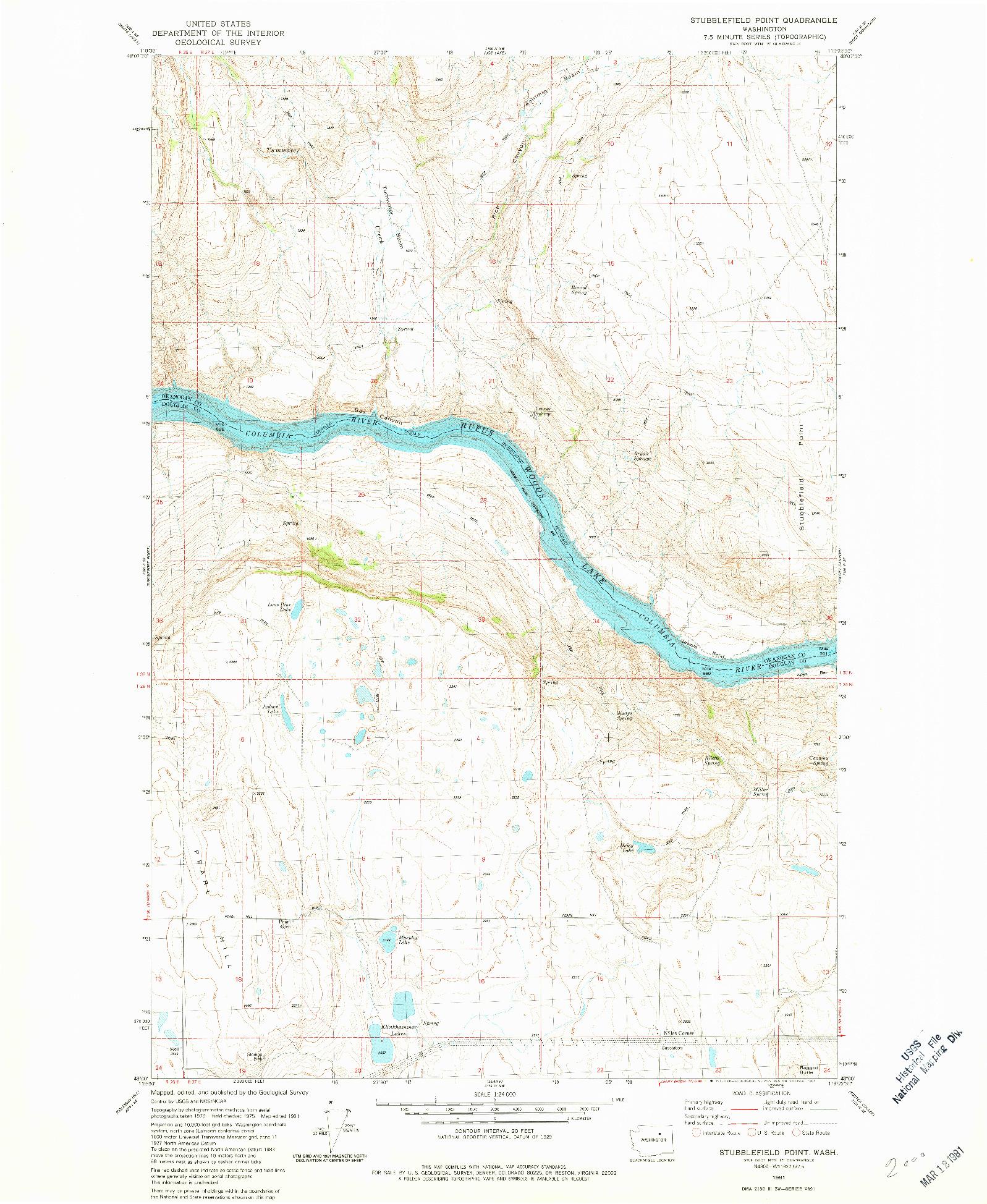 USGS 1:24000-SCALE QUADRANGLE FOR STUBBLEFIELD POINT, WA 1981